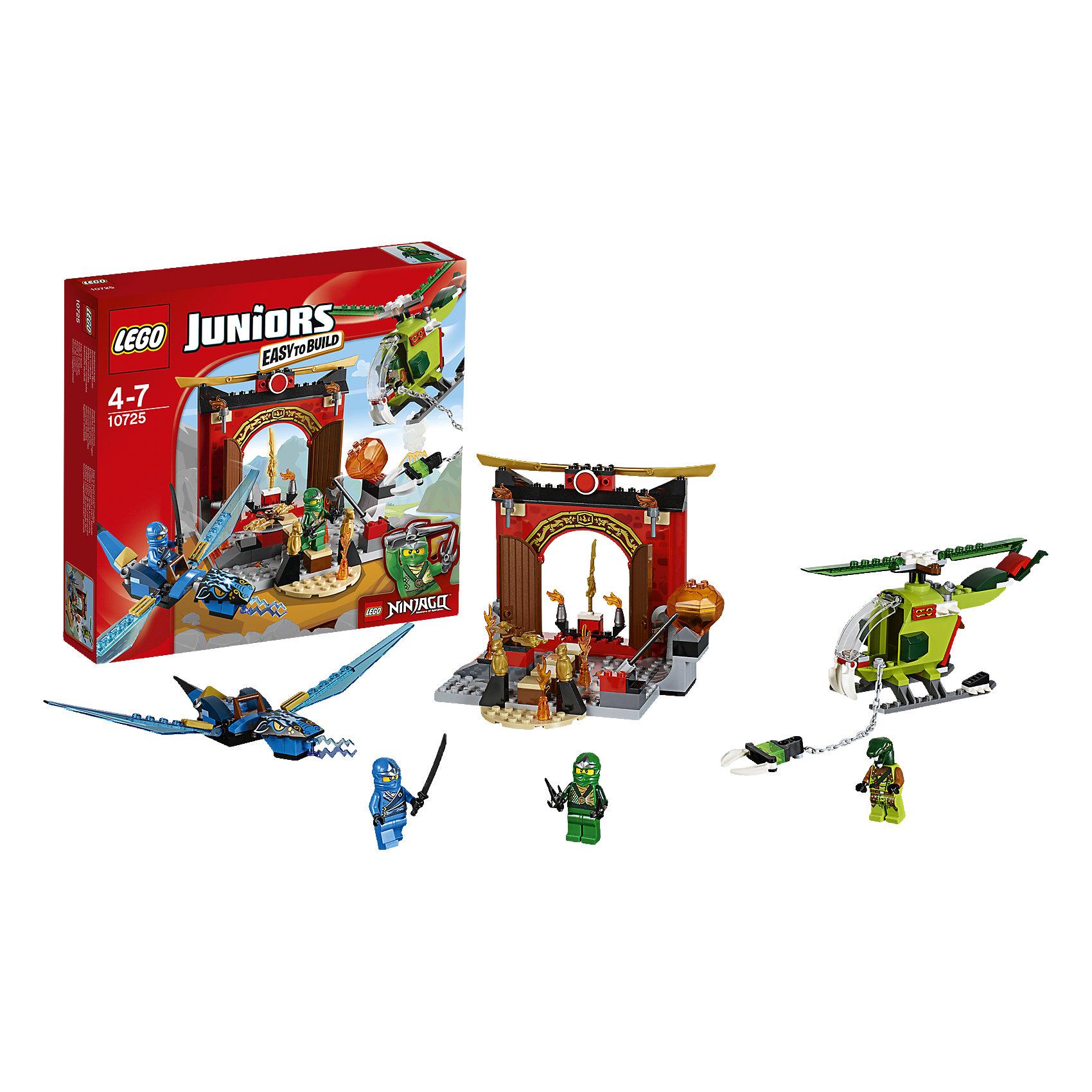 LEGO Juniors 10725: Затерянный храмПроникни с Ллойдом в затерянный храм, чтобы получить Меч Огня. Остерегайся потока лавы, лезвий и подвешенного топора. Если злодей-змей доберется туда первым, пусть Джей догонит его на своем синем драконе и не даст ему бежать! Окунись в приключения в мире Ниндзяго серии LEGO Juniors.<br><br>LEGO Juniors (ЛЕГО Джуниорс) - серия конструкторов для детей от 4 до 7 лет. Размер кубиков и деталей соответствует обычным размерам, при этом наборы очень просты в сборке. Понятные инструкции позволяют детям быстро получить результат и приступить к игре. Конструкторы этой серии прекрасно детализированы, яркие, прочные, имеют множество различных сюжетов - идеально подходят для реалистичных и познавательных игр.<br><br>Дополнительная информация:<br><br>- Конструкторы ЛЕГО развивают усидчивость, внимание, фантазию и мелкую моторику. <br>- Комплектация: 3 минифигурки, аксессуары, дракон Джея, вертолет, меч огня, ловушки. <br>- В комплекте 3 минифигурки: Ллойд, Джей, Змей.<br>- Количество деталей: 172 шт.<br>- Серия ЛЕГО Джуниорс (LEGO  Juniors ).<br>- Материал: пластик.<br>- Размер упаковки: 28,2x26,2x5,9 см.<br>- Вес:  0,47 кг.<br><br>Конструктор LEGO Juniors 10725: Затерянный храм можно купить в нашем магазине.<br><br>Ширина мм: 286<br>Глубина мм: 259<br>Высота мм: 60<br>Вес г: 462<br>Возраст от месяцев: 48<br>Возраст до месяцев: 84<br>Пол: Мужской<br>Возраст: Детский<br>SKU: 4259086