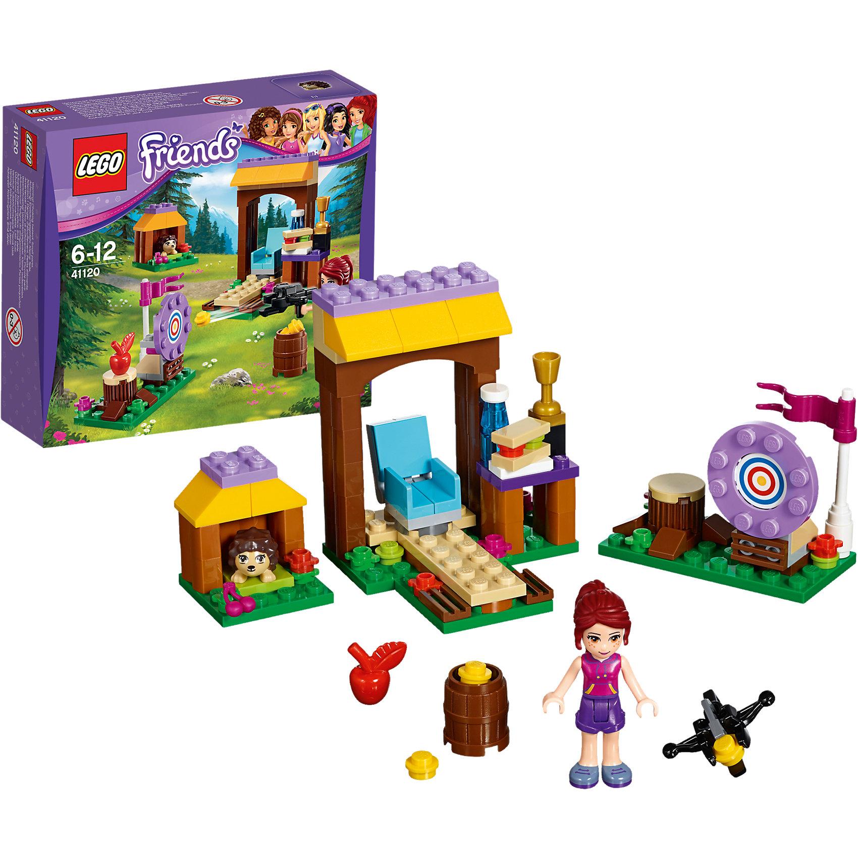 LEGO Friends 41120: Спортивный лагерь: стрельба из лукаМиа хочет получить приз за стрельбу из лука, поэтому выдвигайся на позицию, чтобы помочь ей отточить своё мастерство. Продолжай тренироваться, пока она не будет раз за разом попадать в цель! Перекуси бутербродом в шатре-столовой и насладись прогулкой по лесу— смотри, вот на тропинку выбежал маленький ёжик! Затем приготовь лук снова и целься в яблочко. Миа готова выиграть приз?<br><br>LEGO Friends (ЛЕГО Подружки)- серия детских конструкторов ЛЕГО, созданных специально для девочек. Эта коллекция объединяет в себе принципы строительного конструктора ЛЕГО и игровые темы, яркие цвета и образы интересные для девочек.<br><br>Дополнительная информация:<br><br>- Конструкторы ЛЕГО развивают усидчивость, внимание, фантазию и мелкую моторику. <br>- 1 фигурка.<br>- В комплекте 1 фигурка, ежик, уголок для стрельбы, столовая, золотой кубок, флаг, яблоко, вишня, сэндвич, бутылка воды, лук, бочка с патронами, мишень и цветы.<br>- Количество деталей: 114.<br>- Серия LEGO Friends (ЛЕГО Подружки).<br>- Материал: пластик.<br>- Размер упаковки: 16х4,5х14 см.<br>- Вес: 0.14  кг.<br><br>LEGO Friends 41120: Спортивный лагерь: стрельба из лука можно купить в нашем магазине.<br><br>Ширина мм: 162<br>Глубина мм: 142<br>Высота мм: 45<br>Вес г: 133<br>Возраст от месяцев: 72<br>Возраст до месяцев: 144<br>Пол: Женский<br>Возраст: Детский<br>SKU: 4259088