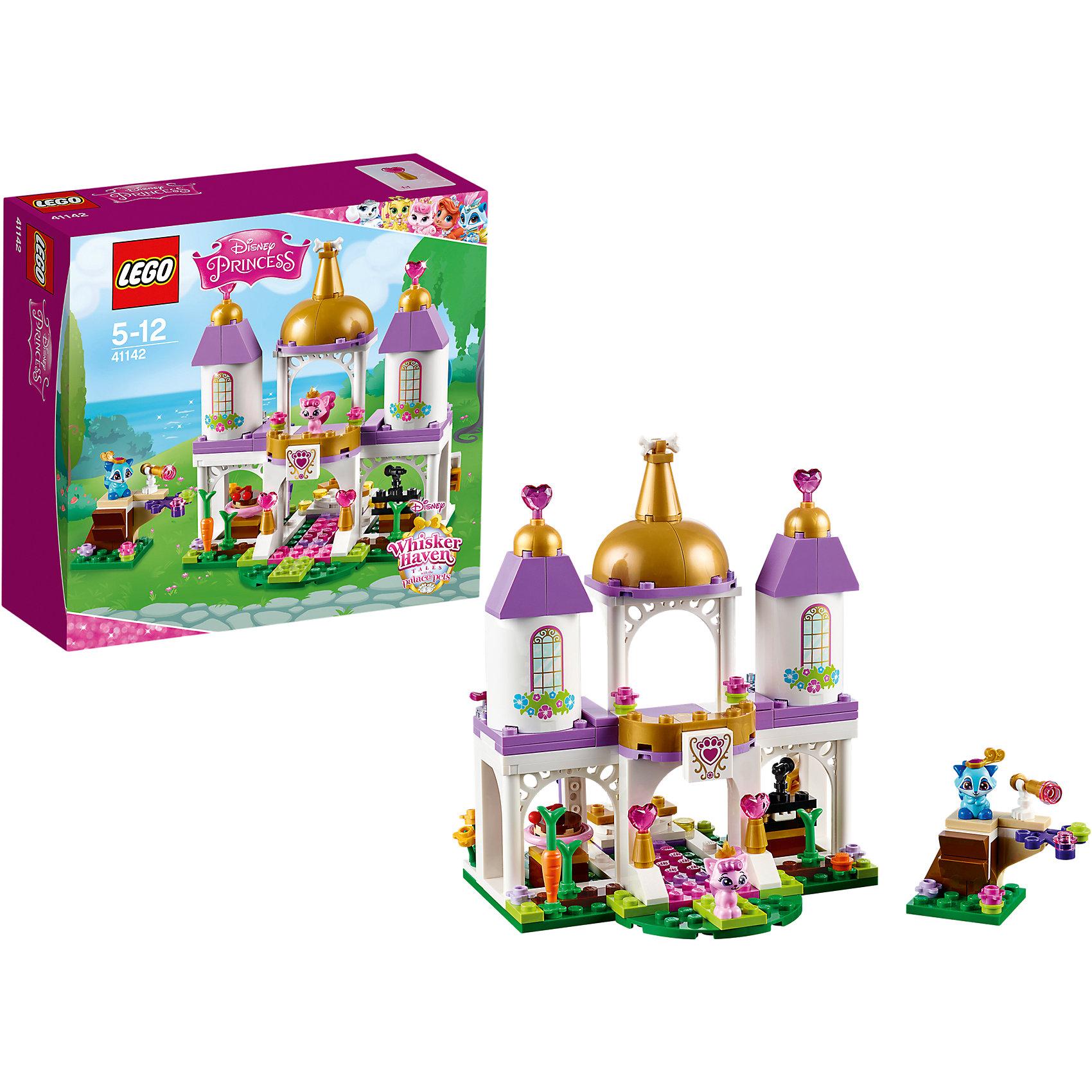 LEGO Disney Princesses 41142: Королевские питомцы: ЗамокLEGO Принцессы Дисней 41142: Королевские питомцы: Замок непременно понравится всем юным поклонницам диснеевских волшебных сказок. Из деталей набора можно собрать роскошный сказочный замок, где обитают любимые питомцы принцесс из диснеевских мультфильмов. Нарядный двухуровневый замок украшен тремя башенками с позолоченными верхушками, внутри несколько жилых комнат и смотровая площадка с подзорной трубой, откуда можно наблюдать за подъезжающими гостями. Их ждет роскошный прием и веселая вечеринка. Сыграй всем на фортепиано, а затем устрой танцы на вращающемся полу. В комплекте также аксессуары для проведения праздника (цветы и угощение) и две фигурки королевских питомцев - котёнок принцессы Авроры Милашка и енотик Покахонтас Василёк.<br><br>Серия конструкторов Lego Disney Princess создана специально для девочек и посвящена принцессам из мультфильмов Диснея. Наборы состоят из деталей необычных ярких расцветок, красивых миникуколок и множества сказочных аксессуаров.<br><br>Дополнительная информация:<br><br>- Игра с конструктором LEGO (ЛЕГО) развивает мелкую моторику ребенка, фантазию и воображение, учит его усидчивости и внимательности.<br>- Количество деталей: 186.<br>- Количество минифигур: 2 (котенок Милашка, енотик Василек).<br>- Серия: LEGO Disney Princess (ЛЕГО Принцессы Дисней).<br>- Материал: пластик.<br>- Размер упаковки: 20,5 х 7,3 х 19,1 см.<br>- Вес: 0,311 кг.<br><br>LEGO Принцессы Дисней 41142: Королевские питомцы: Замок можно купить в нашем интернет-магазине.<br><br>Ширина мм: 194<br>Глубина мм: 200<br>Высота мм: 76<br>Вес г: 304<br>Возраст от месяцев: 60<br>Возраст до месяцев: 144<br>Пол: Женский<br>Возраст: Детский<br>SKU: 4259090
