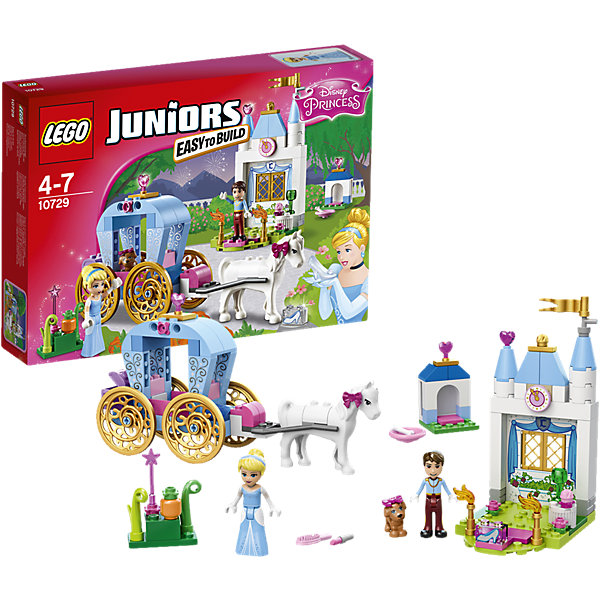 LEGO Juniors 10729: Карета ЗолушкиКонструкторы Лего<br>Присоединись к Золушке в её захватывающей поездке в заколдованной карете! Встреть Прекрасного принца, поиграй с милым щенком Золушки и помоги ей подготовиться к балу. Потом поспеши домой, прежде чем магия исчезнет. Стань частью классической сказки с набором «LEGO Juniors: Принцессы Disney»!<br><br>LEGO Juniors (ЛЕГО Джуниорс) - серия конструкторов для детей от 4 до 7 лет. Размер кубиков и деталей соответствует обычным размерам, при этом наборы очень просты в сборке. Понятные инструкции позволяют детям быстро получить результат и приступить к игре. Конструкторы этой серии прекрасно детализированы, яркие, прочные, имеют множество различных сюжетов - идеально подходят для реалистичных и познавательных игр.<br><br>Дополнительная информация:<br><br>- Конструкторы ЛЕГО развивают усидчивость, внимание, фантазию и мелкую моторику. <br>- Комплектация: 2 минифигурки, карета, часть дворца, аксессуары, лошадка, щенок. <br>- В комплекте 2 фигурки: Золушка, Прекрасный принц.<br>- Количество деталей: 116 шт.<br>- Серия ЛЕГО Джуниорс (LEGO  Juniors ).<br>- Материал: пластик.<br>- Размер упаковки: 26х19х4,6 см.<br>- Вес: 0,28 кг.<br><br>Конструктор LEGO Juniors 10729: Карета Золушки можно купить в нашем магазине.<br><br>Ширина мм: 264<br>Глубина мм: 190<br>Высота мм: 48<br>Вес г: 283<br>Возраст от месяцев: 48<br>Возраст до месяцев: 84<br>Пол: Женский<br>Возраст: Детский<br>SKU: 4259093