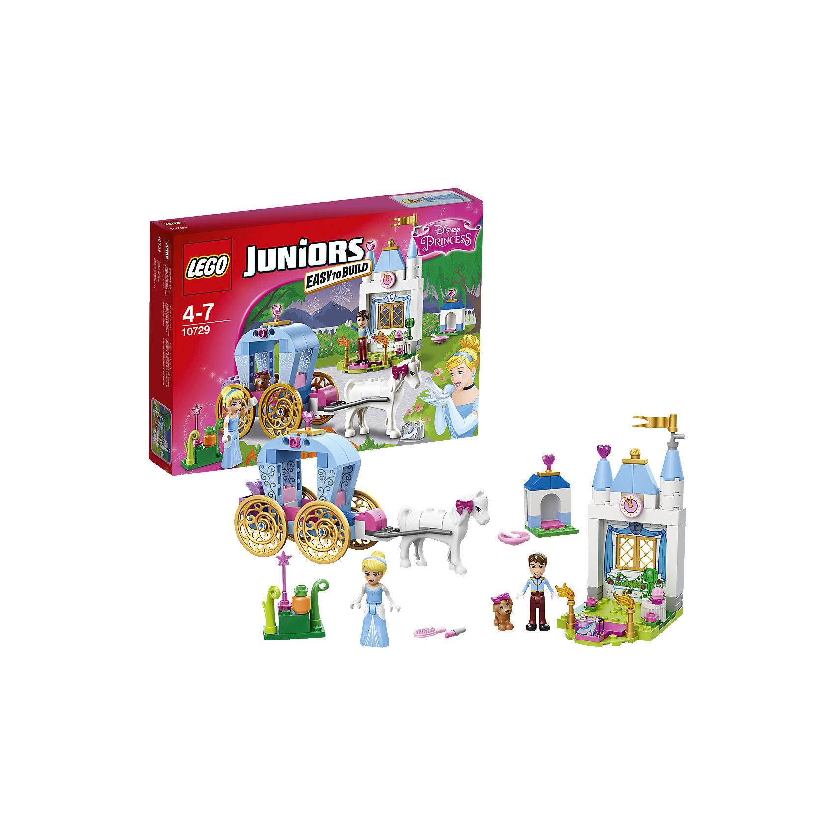 LEGO Juniors 10729: Карета ЗолушкиПопулярные игрушки<br>Присоединись к Золушке в её захватывающей поездке в заколдованной карете! Встреть Прекрасного принца, поиграй с милым щенком Золушки и помоги ей подготовиться к балу. Потом поспеши домой, прежде чем магия исчезнет. Стань частью классической сказки с набором «LEGO Juniors: Принцессы Disney»!<br><br>LEGO Juniors (ЛЕГО Джуниорс) - серия конструкторов для детей от 4 до 7 лет. Размер кубиков и деталей соответствует обычным размерам, при этом наборы очень просты в сборке. Понятные инструкции позволяют детям быстро получить результат и приступить к игре. Конструкторы этой серии прекрасно детализированы, яркие, прочные, имеют множество различных сюжетов - идеально подходят для реалистичных и познавательных игр.<br><br>Дополнительная информация:<br><br>- Конструкторы ЛЕГО развивают усидчивость, внимание, фантазию и мелкую моторику. <br>- Комплектация: 2 минифигурки, карета, часть дворца, аксессуары, лошадка, щенок. <br>- В комплекте 2 фигурки: Золушка, Прекрасный принц.<br>- Количество деталей: 116 шт.<br>- Серия ЛЕГО Джуниорс (LEGO  Juniors ).<br>- Материал: пластик.<br>- Размер упаковки: 26х19х4,6 см.<br>- Вес: 0,28 кг.<br><br>Конструктор LEGO Juniors 10729: Карета Золушки можно купить в нашем магазине.<br><br>Ширина мм: 264<br>Глубина мм: 190<br>Высота мм: 48<br>Вес г: 283<br>Возраст от месяцев: 48<br>Возраст до месяцев: 84<br>Пол: Женский<br>Возраст: Детский<br>SKU: 4259093