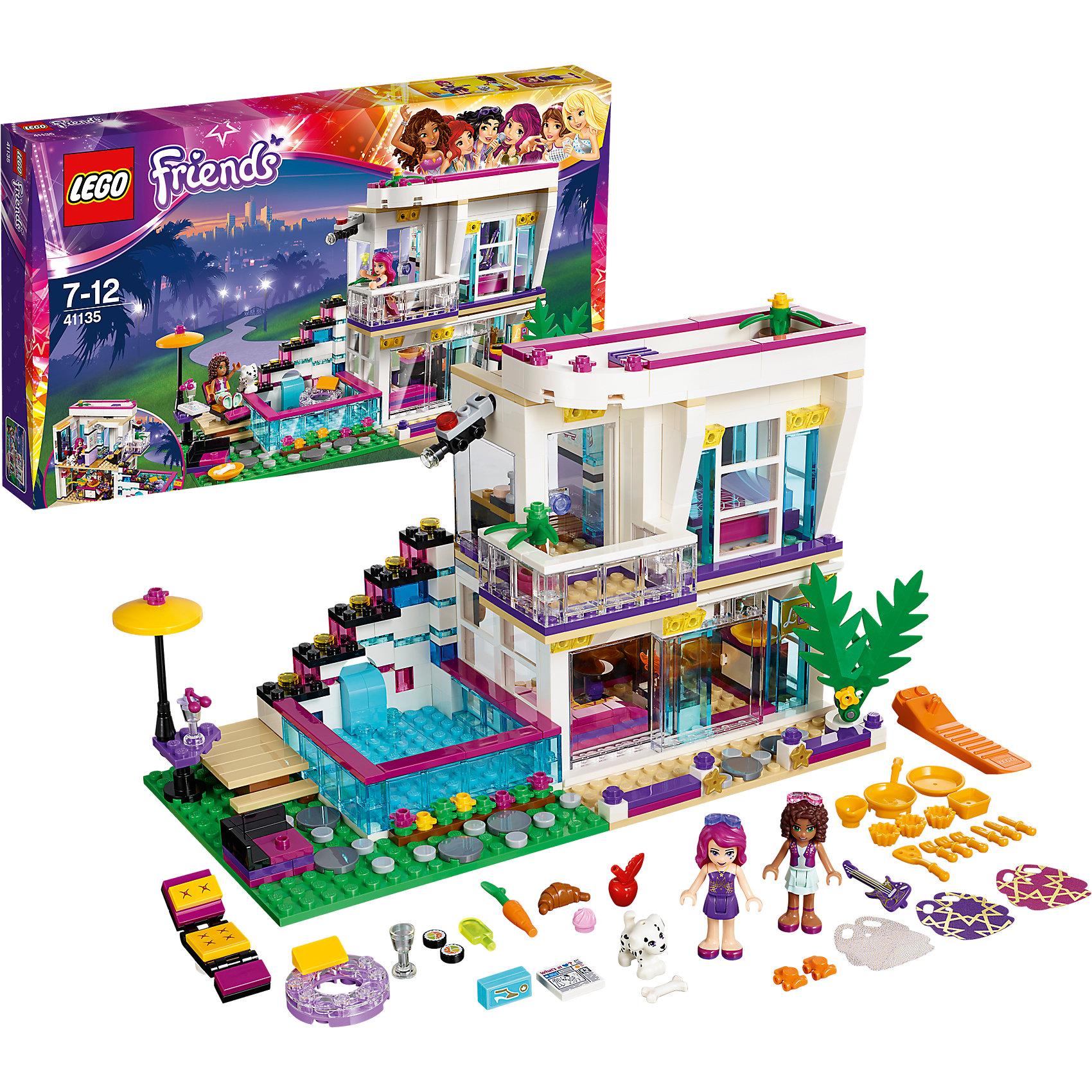 LEGO Friends 41135: Поп-звезда: дом ЛивиLEGO Friends<br>Андреа пригласили провести день с Ливи в её великолепном доме, и ты можешь пойти с ней! Прими душ в гламурной чёрно-золотой ванной, а затем выбери в гардеробе юбку. Насладись видом с балкона или поиграй возле бассейна с собачкой Куки. Потом приготовь суши на кухне, оборудованной по последнему слову техники, и отдохни в гостиной у камина.<br><br>LEGO Friends (ЛЕГО Подружки)- серия детских конструкторов ЛЕГО, созданных специально для девочек. Эта коллекция объединяет в себе принципы строительного конструктора ЛЕГО и игровые темы, яркие цвета и образы интересные для девочек.<br><br>Дополнительная информация:<br><br>- Конструкторы ЛЕГО развивают усидчивость, внимание, фантазию и мелкую моторику. <br>- 3 фигурки.<br>- В комплекте 2 фигурки, собачка, дом с бассейном, пальма, шезлонг, посуда, еда, гитары, аксессуары. <br>- Количество деталей: 726<br>- Серия LEGO Friends (ЛЕГО Подружки).<br>- Материал: пластик.<br>- Размер упаковки: 48х6х28 см.<br>- Размер дома в собранном виде: 15х14х25 см.<br>- Вес: 0.93 кг.<br><br>LEGO Friends 41135: Поп-звезда: дом Ливи можно купить в нашем магазине.<br><br>Ширина мм: 478<br>Глубина мм: 281<br>Высота мм: 63<br>Вес г: 1016<br>Возраст от месяцев: 84<br>Возраст до месяцев: 144<br>Пол: Женский<br>Возраст: Детский<br>SKU: 4259098