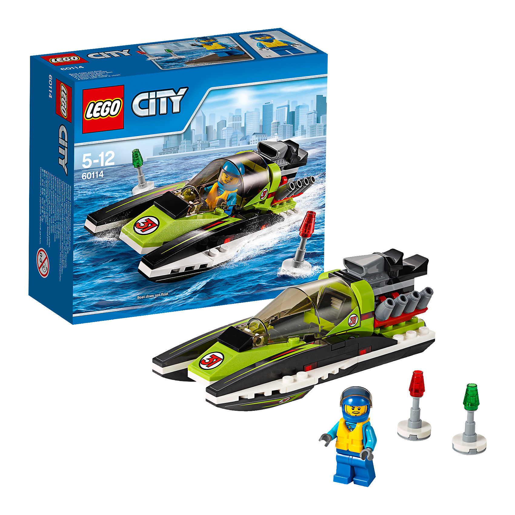 LEGO City 60114: Гоночный катерLEGO City (ЛЕГО Сити) 60114: Гоночный катер станет прекрасным подарком для юных любителей конструирования. Заводи мотор Гоночного катера и готовься к большой гонке! Мчись по воде как можно быстрее, но следи за тем, чтобы не вылететь за буйки. Обтекаемый корпус катера состоит из чёрно-зеленых деталей и украшен наклейками. В центральной части модели находится кабина водителя с вытянутым лобовым стеклом, сиденьем и рулем. В передней части с обеих сторон расположены полозья, выполняющие функцию поплавков. Мощный мотор на корме катера обеспечивает ему высокую скорость и победу в гонках. В комплект также входят два буйка и минифигурка гонщика.  <br><br>Серия конструкторов  LEGO City позволяет почувствовать себя инженером и архитектором, строителем или мэром города. Вы можете создавать свой город мечты, развивать городскую инфраструктуру, строить дороги и здания, управлять городским хозяйством и следить за порядком.<br>В игровых наборах с разнообразными сюжетами много интересных персонажей, оригинальных объектов и городской техники. Это уникальная возможность для ребенка развивать фантазию и логическое мышление, узнавать и осваивать разные профессии.<br><br>Дополнительная информация:<br><br>- Игра с конструктором LEGO (ЛЕГО) развивает мелкую моторику ребенка, фантазию и воображение, учит его усидчивости и внимательности.<br>- Количество деталей: 95.<br>- Количество минифигур: 1.<br>- Серия: LEGO City (ЛЕГО Сити).<br>- Материал: пластик.<br>- Размер собранного катера: 5 х 13 х 6 см.<br>- Размер упаковки: 15,5 х 6 х 14 см.<br>- Вес: 0,16 кг.<br><br>LEGO City (ЛЕГО Сити) 60114: Гоночный катер можно купить в нашем интернет-магазине.<br><br>Ширина мм: 160<br>Глубина мм: 142<br>Высота мм: 63<br>Вес г: 162<br>Возраст от месяцев: 60<br>Возраст до месяцев: 144<br>Пол: Мужской<br>Возраст: Детский<br>SKU: 4259102
