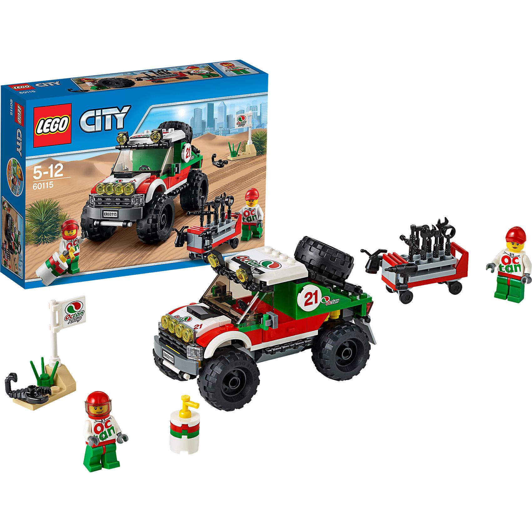 LEGO City 60115: Внедорожник 4x4Пластмассовые конструкторы<br>LEGO City (ЛЕГО Сити) 60115: Внедорожник 4x4 станет прекрасным подарком для юных любителей конструирования. Жителей Лего-Сити ждет новое грандиозное зрелище - гонка внедорожников по пустыне. Подготовь свою машину, проверь запаску и убедись, что она накачана.<br>Заполни переносной топливный бак, пристегни водителя ремнем - и в путь! Корпус внедорожника состоит из бело-красно-зелёных деталей и украшен номерами и логотипами гонки. В центральной части модели находится кабина водителя с тонированным лобовым стеклом, навесными фарами, сиденьем и рулем, двери открываются. Спереди видны фары, радиаторная решётка и автомобильный номер. Мощные колеса с рифлеными шинами помогают быстро преодолевать любые препятствия. В комплект также входят детали для сборки сервисной тележки, различные игровые аксессуары и две минифигурки - гонщика и механика. <br><br>Серия конструкторов  LEGO City позволяет почувствовать себя инженером и архитектором, строителем или мэром города. Вы можете создавать свой город мечты, развивать городскую инфраструктуру, строить дороги и здания, управлять городским хозяйством и следить за порядком.<br>В игровых наборах с разнообразными сюжетами много интересных персонажей, оригинальных объектов и городской техники. Это уникальная возможность для ребенка развивать фантазию и логическое мышление, узнавать и осваивать разные профессии.<br><br>Дополнительная информация:<br><br>- Игра с конструктором LEGO (ЛЕГО) развивает мелкую моторику ребенка, фантазию и воображение, учит его усидчивости и внимательности.<br>- Количество деталей: 176.<br>- Количество минифигур: 2.<br>- Серия: LEGO City (ЛЕГО Сити).<br>- Материал: пластик.<br>- Размер собранного внедорожника: 8 х 13 х 7 см.<br>- Размер упаковки: 26 х 6 х 19 см.<br>- Вес: 0,335 кг.<br><br>LEGO City (ЛЕГО Сити) 60115: Внедорожник 4x4 можно купить в нашем интернет-магазине.<br><br>Ширина мм: 280<br>Глубина мм: 261<br>Высота мм: 63<br>Вес г: 493<br>Возраст