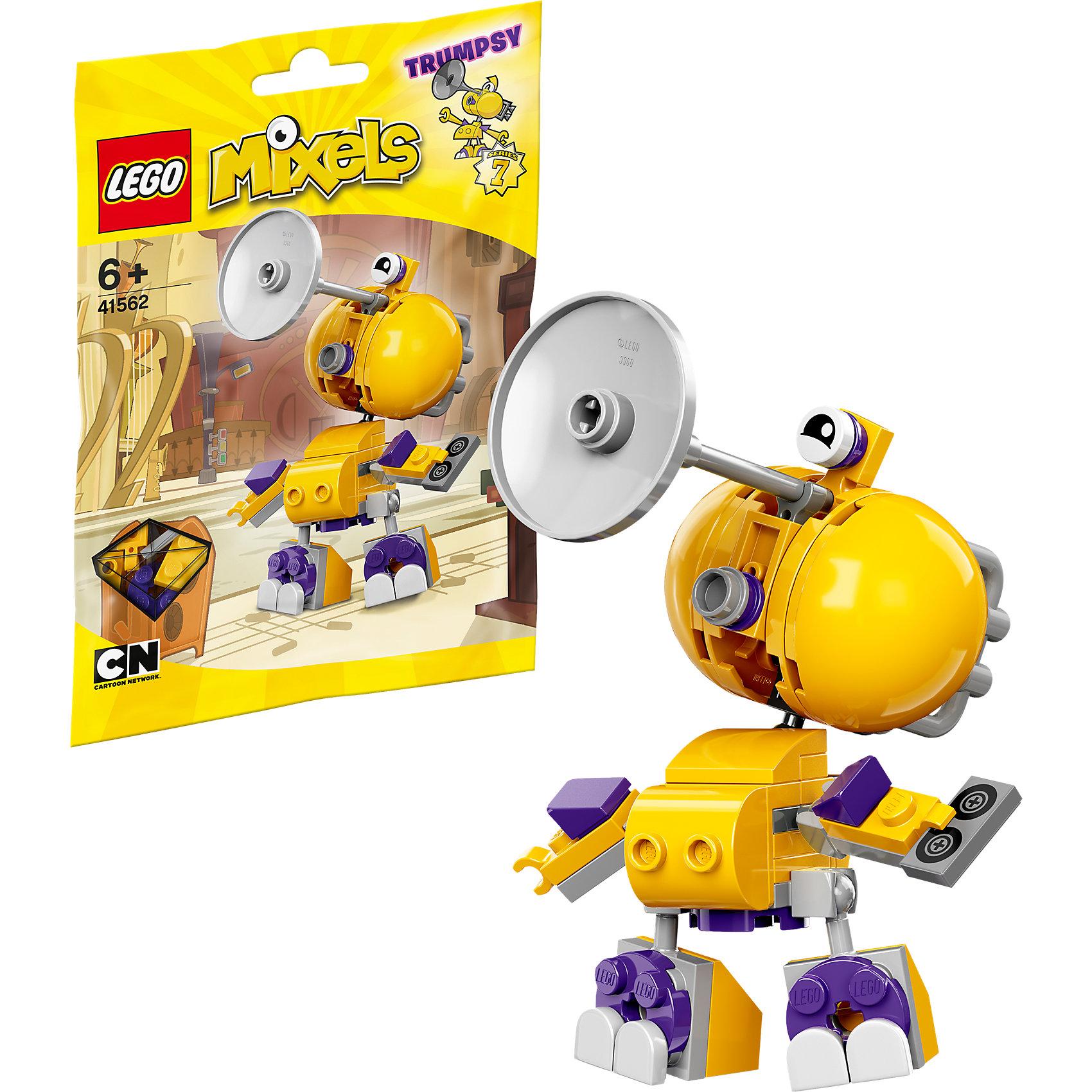 LEGO MIXELS 41562: ТрампсиУ этого музыканта из МиксОрлеанс - тромбон вместо головы и большие щеки, чтобы выдувать громкую мелодию. Когда Трампси играет, об этом знают все в Миксополисе! Просто не давай никому украсть музыкальную коллекцию этого микселя.<br><br>LEGO MIXELS (Лего Миксели) - серия конструкторов, герои которой - забавные существа - миксели. Они обожают объединяться друг с другом, получая новые сверхспособности! А еще миксели любят смешивать между собой все, что попадется под руку, и результаты порой оказываются самыми неожиданными. <br><br>Дополнительная информация:<br><br>- Конструкторы ЛЕГО развивают усидчивость, внимание, фантазию и мелкую моторику. <br>- Для создания героя большего размера можно воспользоваться деталями из наборов Лего 41561 Тапси и Лего 41562 Трампси.<br>- Количество деталей: 54<br>- Серия Лего Миксели (LEGO MIXELS).<br>- Материал: пластик.<br>- Размер упаковки: 13х2х17,5 см.<br>- Высота Трампси в собранном виде: 9 см. <br>- Вес: 0.05 кг.<br><br>Конструктор LEGO MIXELS 41562: Трампси можно купить в нашем магазине.<br><br>Ширина мм: 174<br>Глубина мм: 119<br>Высота мм: 27<br>Вес г: 47<br>Возраст от месяцев: 72<br>Возраст до месяцев: 192<br>Пол: Мужской<br>Возраст: Детский<br>SKU: 4259111