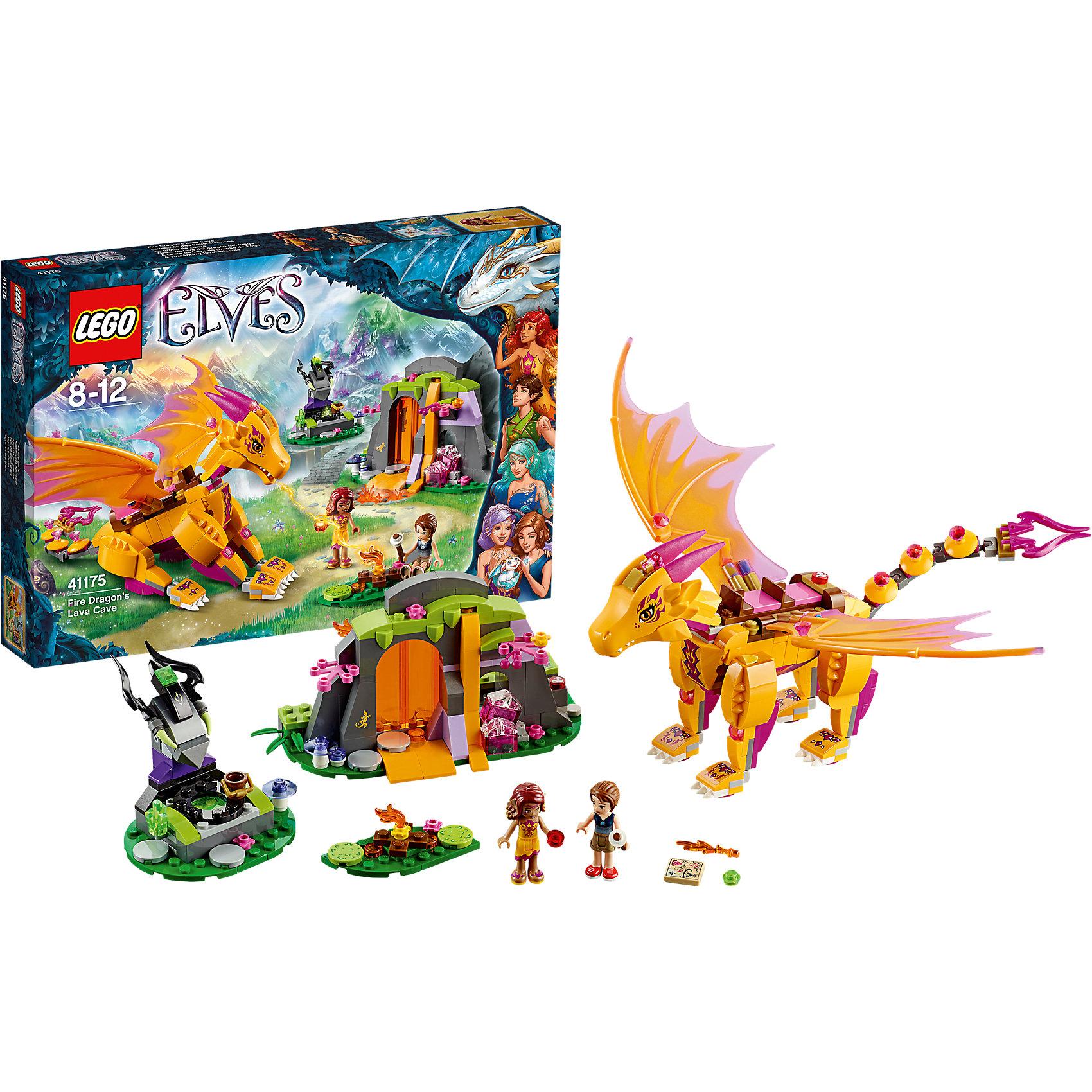 LEGO Elves 41175: Лавовая пещера дракона огняКонструктор LEGO Elves (ЛЕГО Эльфы) 41175: Лавовая пещера дракона огня поможет Вашей девочке перенестись в волшебный мир эльфов, познакомиться с его обитателями и пережить вместе с ними веселые приключения. Эмили Джонс и эльф огня Азари пролетали верхом на Драконе Огня, когда обнаружили Лавовую пещеру. С помощью своих магических огненных способностей Азари открывает вход в пещеру. Теперь друзьям предстоит исследовать ее, чтобы найти секретную карту. Переночуй в пещере, уютно устроившись на кровати из мха, а утром вместе с Эмили и Азари забирайся на спину Зоньи, чтобы совершить невероятный полёт! Сборная фигурка дракона выполнена с высокой степенью детализации, яркие жёлтые и оранжевые детали и фиолетовым чешуя придают ему впечатляющий внешний вид.<br><br>Конструкторы серии  LEGO Elves объединены общим сюжетом о приключениях девочки Эмили Джонс, попавшей в удивительный мир эльфов. Чтобы вернуться обратно домой ей нужно отыскать четыре волшебных ключа. Найти их ей помогут ее новые друзья - эльфы Азари (эльф огня), Наида (эльф воды), Эйра (эльф ветра) и Фарран (эльф Земли). Необычные яркие цвета, уникальные детали и минифигурки и красивые сказочные сюжеты делают эти конструкторы прекрасным подарком для всех девочек от 6 до 12 лет.<br><br>Дополнительная информация:<br><br>- Игра с конструктором LEGO (ЛЕГО) развивает мелкую моторику ребенка, фантазию и воображение, учит его усидчивости и внимательности.<br>- Количество деталей: 441.<br>- Количество минифигур: 2 (эльф Азари и Эмили Джонс).<br>- Серия: LEGO Elves (ЛЕГО Эльфы).<br>- Материал: пластик.<br>- Размер упаковки: 38 х 5 х 26 см.<br>- Вес: 0,59 кг.<br><br>Конструктор LEGO Elves (ЛЕГО Эльфы) 41175: Лавовая пещера дракона огня можно купить в нашем интернет-магазине.<br><br>Ширина мм: 382<br>Глубина мм: 261<br>Высота мм: 60<br>Вес г: 589<br>Возраст от месяцев: 96<br>Возраст до месяцев: 144<br>Пол: Женский<br>Возраст: Детский<br>SKU: 4259136