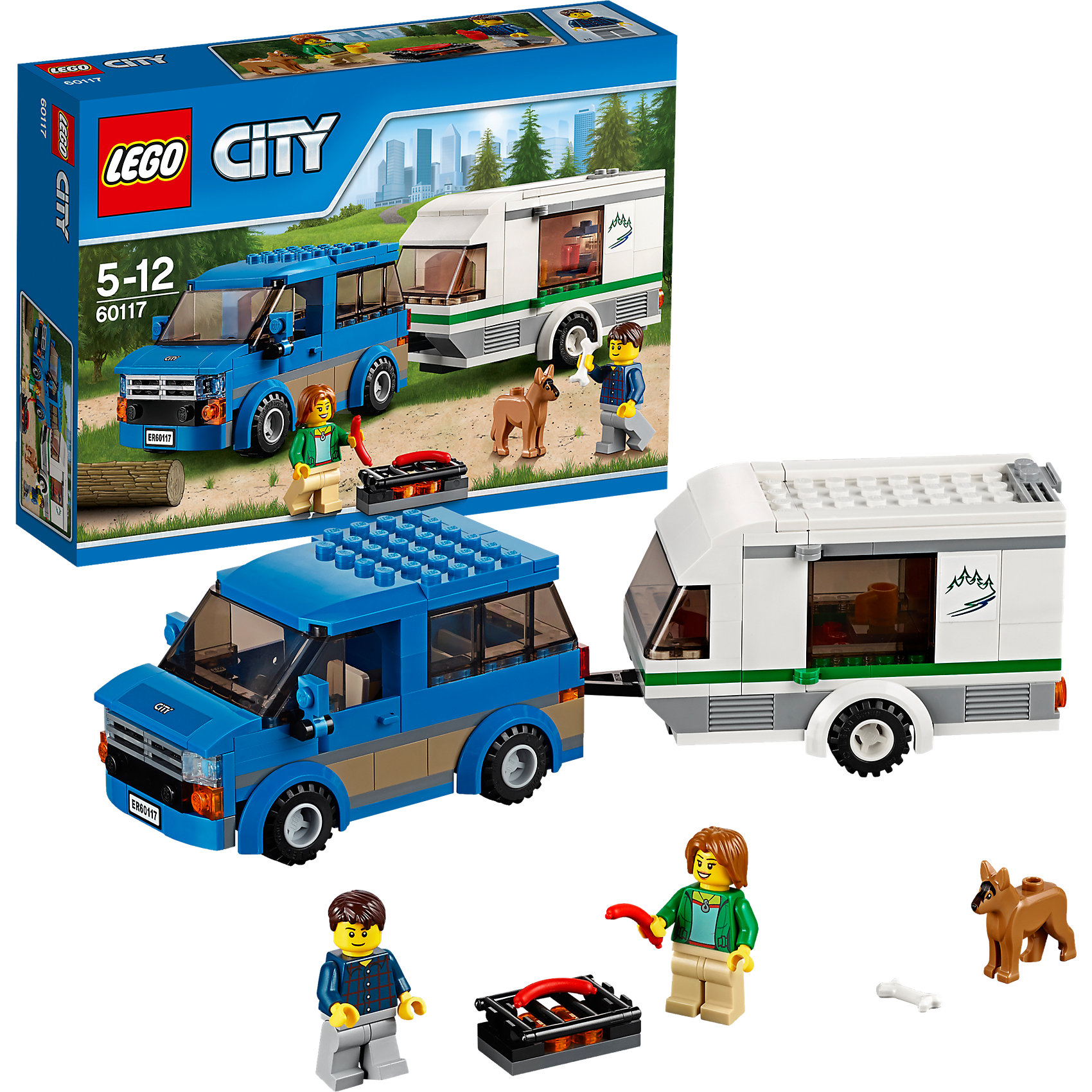 LEGO City 60117: Фургон и дом на колёсахПластмассовые конструкторы<br>LEGO City (ЛЕГО Сити) 60117: Фургон и дом на колёсах подарит Вашему ребенку новые веселые приключения и расширит игровые возможности. Отправляйся в увлекательное путешествие на собственном фургоне. Заполни домик на колесах всем необходимым и не забудь захватить с собой любимую собачку. Корпус фургона состоит из синих деталей. Спереди размещается кабина водителя с тонированным ветровым стеклом, сиденьем, рулем и открывающимися дверями. Сняв крышу можно рассмотреть просторный салон, где достаточно места для пассажиров. Колеса с рифлеными шинами обеспечивают машине хорошую маневренность. Заглянуть внутрь домика можно раздвинув боковые стенки, здесь располагаются уютное спальное место, столик и кухонный уголок с кофеваркой. В комплект также входят разнообразные игровые аксессуары, фигурка собачки и две минифигурки туристов. <br><br>Серия конструкторов  LEGO City позволяет почувствовать себя инженером и архитектором, строителем или мэром города. Вы можете создавать свой город мечты, развивать городскую инфраструктуру, строить дороги и здания, управлять городским хозяйством и следить за порядком.<br>В игровых наборах с разнообразными сюжетами много интересных персонажей, оригинальных объектов и городской техники. Это уникальная возможность для ребенка развивать фантазию и логическое мышление, узнавать и осваивать разные профессии.<br><br>Дополнительная информация:<br><br>- Игра с конструктором LEGO (ЛЕГО) развивает мелкую моторику ребенка, фантазию и воображение, учит его усидчивости и внимательности.<br>- Количество деталей: 250.<br>- Количество минифигур: 2.<br>- Серия: LEGO City (ЛЕГО Сити).<br>- Материал: пластик.<br>- Размер собранного фургона: 6 х 12 х 6 см.<br>- Размер прицепа: 6 х 13 х 5 см.<br>- Размер упаковки: 26 х 6 х 19 см.<br>- Вес: 0,415 кг.<br><br>LEGO City (ЛЕГО Сити) 60117: Фургон и дом на колёсах можно купить в нашем интернет-магазине.<br><br>Ширина мм: 265<br>Глубина мм: 190<br>Высот