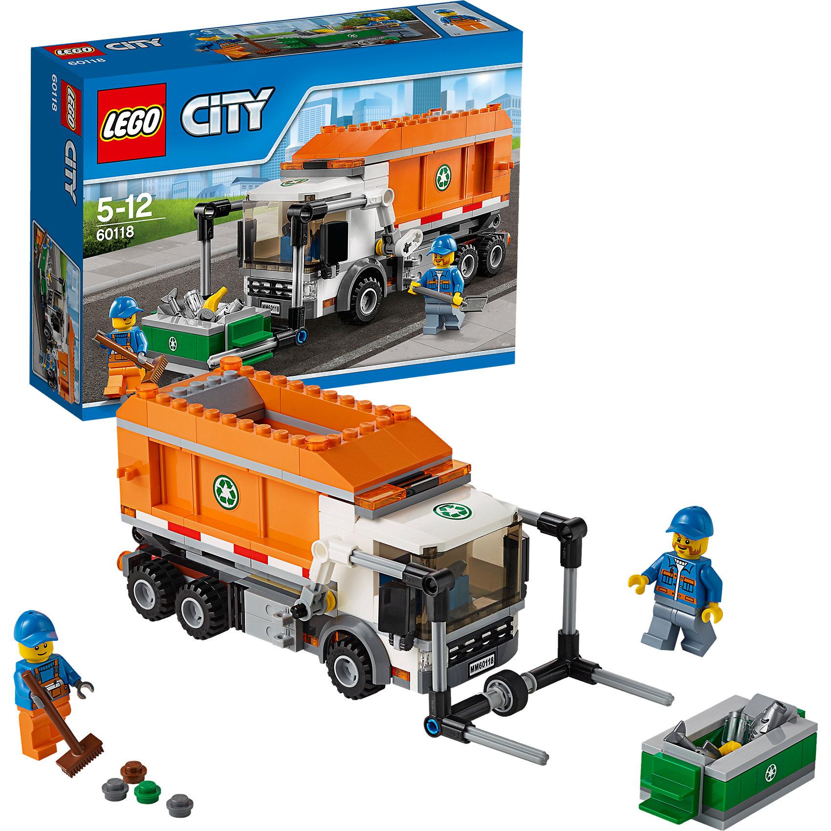 LEGO City 60118: МусоровозLEGO City (ЛЕГО Сити) 60118: Мусоровоз станет прекрасным подарком для юных любителей конструирования. На улицах Лего-Сити всегда чистота и порядок! Каждый день команда городских служб разъезжает по улицам на своем большом мусоровозе, собирает мусор и отвозит его на переработку. Модель мусоровоза отличается функциональностью и высокой степенью детализации. Просторная застекленная кабина оснащена сиденьем водителя, рулем, боковыми зеркалами, радиаторной решёткой и фарами. За кабиной предусмотрены крепления для подъёмника, который используется для фиксации мусорных контейнеров и опрокидывания их содержимого прямо в кузов грузовика. Большой вместительный кузов поднимается и опускается, задняя стенка кузова открывается, высыпая содержимое. В комплект входят различные игровые аксессуары (мусорный контейнер, лопата, швабра, мусор) и две минифигурки рабочих.  <br><br>Серия конструкторов LEGO City позволяет почувствовать себя инженером и архитектором, строителем или мэром города. Вы можете создавать свой город мечты, развивать городскую инфраструктуру, строить дороги и здания, управлять городским хозяйством и следить за порядком.<br>В игровых наборах с разнообразными сюжетами много интересных персонажей, оригинальных объектов и городской техники. Это уникальная возможность для ребенка развивать фантазию и логическое мышление, узнавать и осваивать разные профессии.<br><br>Дополнительная информация:<br><br>- Игра с конструктором LEGO (ЛЕГО) развивает мелкую моторику ребенка, фантазию и воображение, учит его усидчивости и внимательности.<br>- Количество деталей: 248.<br>- Количество минифигур: 2.<br>- Серия: LEGO City (ЛЕГО Сити).<br>- Материал: пластик.<br>- Размер собранного мусоровоза: 8 х 20 х 7 см.<br>- Размер упаковки: 26 х 7 х 19 см.<br>- Вес: 0,42 кг.<br><br>LEGO City (ЛЕГО Сити) 60118: Мусоровоз можно купить в нашем интернет-магазине.<br><br>Ширина мм: 264<br>Глубина мм: 190<br>Высота мм: 73<br>Вес г: 423<br>Возраст от месяцев: 60<br>Возраст д