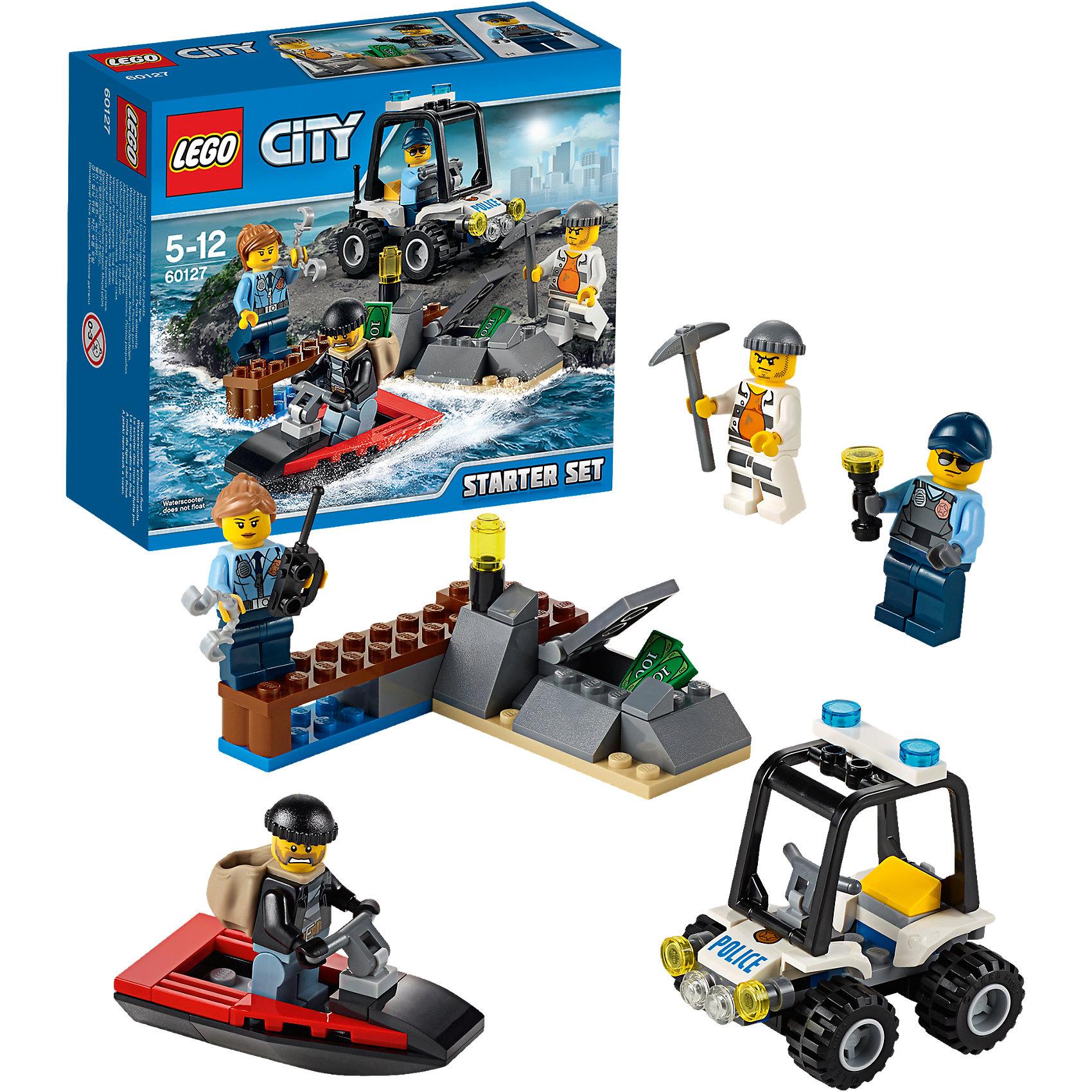 LEGO City 60127: Набор для начинающих «Остров-тюрьма»Конструктор LEGO City (ЛЕГО Сити) 60127: Набор для начинающих Остров-тюрьма подарит Вашему ребенку новые веселые приключения и расширит игровые возможности. На острове-тюрьме совершил побег опасный преступник. Он прихватил с собой мешок с награбленным и вместе со своим напарником пытается скрыться на красном скутере. В погоню за ними отправляются двое отважных полицейских на своем мощном внедорожнике. Набор отличается простотой сборки и прекрасно подходит для начинающих. Вы легко сможете построить красный скутер, деревянный пирс с открывающимся тайником и полицейский багги с просторной кабиной с рулем, рифлёными шинами, сигнальными огнями и круглыми фарами. В комплект также входят различные игровые аксессуары и четыре минифигурки - два полицейских и два преступника.<br><br>Серия конструкторов  LEGO City позволяет почувствовать себя инженером и архитектором, строителем или мэром города. Вы можете создавать свой город мечты, развивать городскую инфраструктуру, строить дороги и здания, управлять городским хозяйством и следить за порядком. В игровых наборах с разнообразными сюжетами много интересных персонажей, оригинальных объектов и городской техники. Это уникальная возможность для ребенка развивать фантазию и логическое мышление, узнавать и осваивать разные профессии.<br><br>Дополнительная информация:<br><br>- Игра с конструктором LEGO (ЛЕГО) развивает мелкую моторику ребенка, фантазию и воображение, учит его усидчивости и внимательности.<br>- Количество деталей: 92.<br>- Количество минифигур: 4.<br>- Серия: LEGO City (ЛЕГО Сити).<br>- Материал: пластик.<br>- Размер упаковки: 16 х 6 х 14,5 см.<br>- Вес: 0,16 кг.<br><br>Конструктор LEGO City (ЛЕГО Сити) 60127: Набор для начинающих Остров-тюрьма можно купить в нашем интернет-магазине.<br><br>Ширина мм: 160<br>Глубина мм: 141<br>Высота мм: 64<br>Вес г: 146<br>Возраст от месяцев: 60<br>Возраст до месяцев: 144<br>Пол: Мужской<br>Возраст: Детский<br>SKU: 4259145