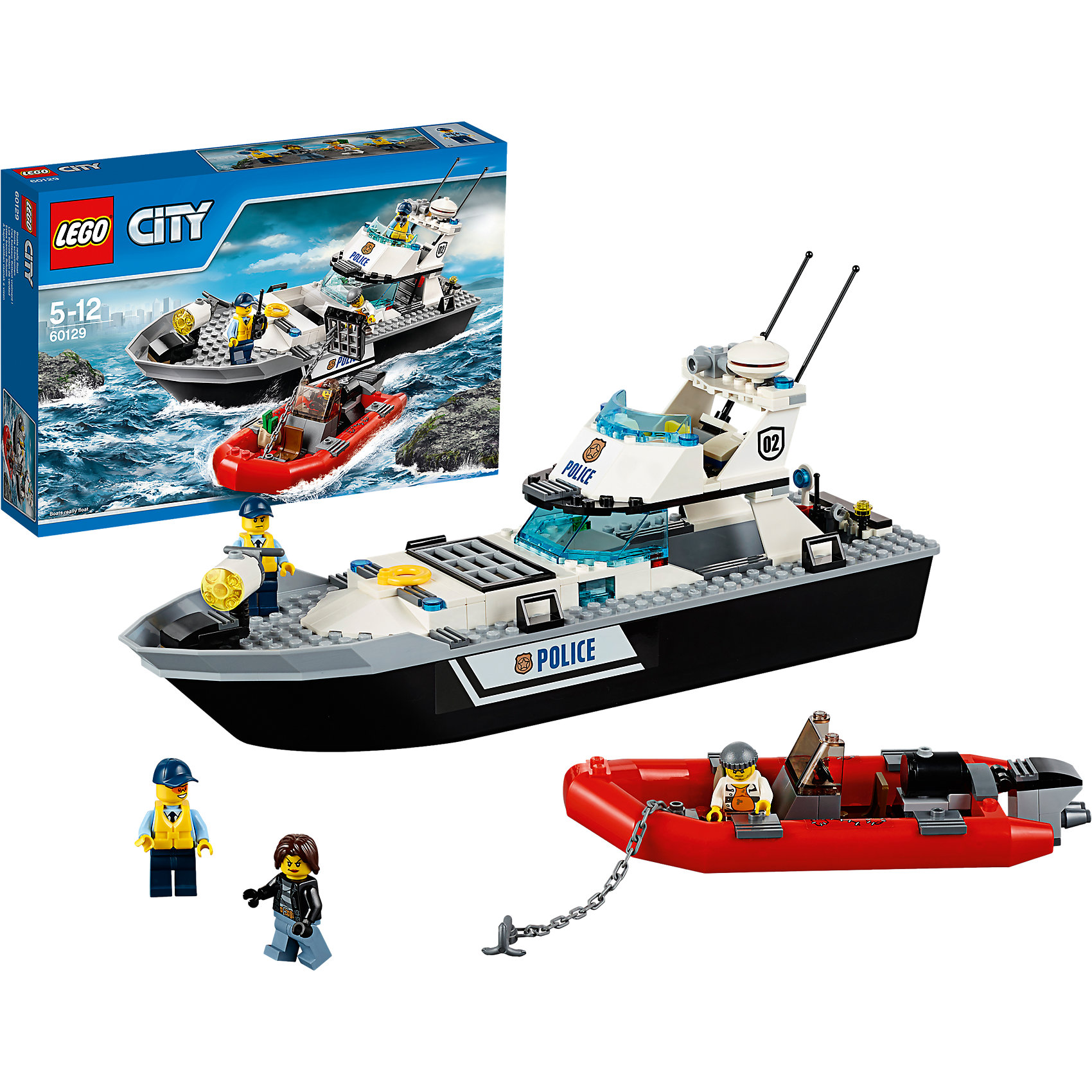 LEGO City 60129: Полицейский патрульный катерПластмассовые конструкторы<br>Конструктор LEGO City (ЛЕГО Сити) 60128: Полицейская погоня подарит Вашему ребенку новые веселые приключения и расширит игровые возможности. Полицейские Лего Сити на своем большом катере транспортируют преступника на остров-тюрьму. Но его напарник пытается освободить своего сообщника. Он подплыл на надувной лодке к катеру и цепляет решетку камеры к лодке с помощью якоря - преступник вот-вот окажется на свободе, скрывшись с награбленными деньгами! Помоги полицейским предотвратить побег и сохранить порядок в городе. Из деталей набора Вы сможете собрать впечатляющий патрульным катер со множеством интересных элементов. В носовой части палубы установлен мощный противотуманный прожектор, за ним располагается тюремная камера с решёткой, в которой можно разместить минифигурку заключенного. Над палубой возвышается двухуровневый капитанский мостик, а этажом ниже - каюта для отдыха полицейских, в которую можно спуститься по подвесной лестнице. Лодка преступников оснащена мощным мотором, тонированным ветровым стеклом и сиденьями для водителя и пассажира. В комплект также входят различные игровые аксессуары и четыре минифигурки: 2 полицейских и 2 преступника. <br><br>Серия конструкторов  LEGO City позволяет почувствовать себя инженером и архитектором, строителем или мэром города. Вы можете создавать свой город мечты, развивать городскую инфраструктуру, строить дороги и здания, управлять городским хозяйством и следить за порядком.<br>В игровых наборах с разнообразными сюжетами много интересных персонажей, оригинальных объектов и городской техники. Это уникальная возможность для ребенка развивать фантазию и логическое мышление, узнавать и осваивать разные профессии.<br><br>Дополнительная информация:<br><br>- Игра с конструктором LEGO (ЛЕГО) развивает мелкую моторику ребенка, фантазию и воображение, учит его усидчивости и внимательности.<br>- Количество деталей: 200.<br>- Количество минифигур: 4.<br>- Серия: