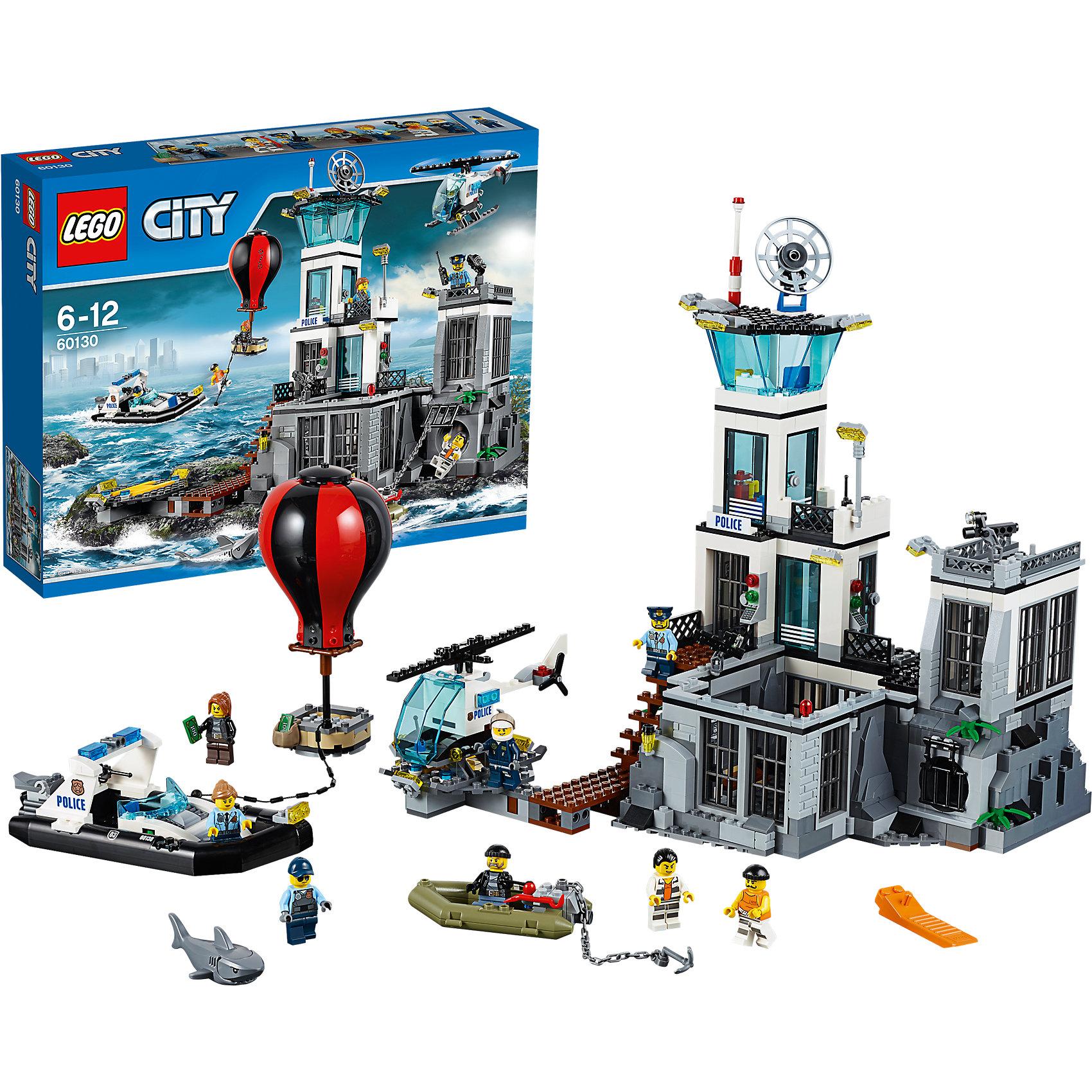 LEGO City 60130: Остров-тюрьмаПластмассовые конструкторы<br>Конструктор LEGO City (ЛЕГО Сити) 60130: Остров-тюрьма подарит Вашему ребенку новые веселые приключения и расширит игровые возможности. На острове-тюрьме пытаются совершить побег двое преступников. Вместе с отважными полицейскими следи за ними, чтобы выяснить их планы и не дать им сбежать. Беглецы уже пробираются по канализации к катеру, подготовленному для побега. Скорее запрыгивай в вертолёт и не дай им улететь на воздушном шаре. Они сделают всё, чтобы вырваться с Острова-тюрьмы! Из деталей набора Вы сможете построить<br>впечатляющее здание тюрьмы, полицейский вертолёт, полицейский катер, лодку и воздушный шар. Тюрьма оборудована несколькими функциональными помещениями и системой вентиляции, через которую могут сбежать преступники. На втором этаже размещается комната отдыха с большими панорамными окнами, самый верхний уровень представляет собой дозорную вышку, оснащенную системой прожекторов, спутниковой антенной и сигнальным огнём. Перед тюрьмой устроен небольшой деревянный пирс с площадкой для полицейского вертолета. В комплект также входят различные игровые аксессуары (полицейская рация, наручники, гантель, пачки денег и другие) и восемь минифигурок: четверо полицейских и четверо преступников.<br><br>Серия конструкторов  LEGO City позволяет почувствовать себя инженером и архитектором, строителем или мэром города. Вы можете создавать свой город мечты, развивать городскую инфраструктуру, строить дороги и здания, управлять городским хозяйством и следить за порядком. В игровых наборах с разнообразными сюжетами много интересных персонажей, оригинальных объектов и городской техники. Это уникальная возможность для ребенка развивать фантазию и логическое мышление, узнавать и осваивать разные профессии.<br><br>Дополнительная информация:<br><br>- Игра с конструктором LEGO (ЛЕГО) развивает мелкую моторику ребенка, фантазию и воображение, учит его усидчивости и внимательности.<br>- Количество деталей: 754.<br>- Ко