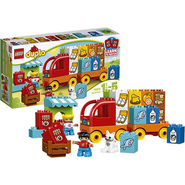 LEGO DUPLO 10818: Мой первый грузовикКонструкторы для малышей<br>LEGO DUPLO (ЛЕГО Дупло) 10818: Мой первый грузовик - увлекательный игровой набор, который станет замечательным подарком для Вашего малыша. Из ярких деталей он сможет самостоятельно собрать красочный грузовик с прицепом и местом для водителя. Загрузите кузов разнообразными продуктами (в комплект входят 8 пар разноцветных блоков, декорированных изображениями продуктов) и отправляйтесь в путь. Можно соорудить рыночный киоск с навесом и открыть торговлю. Все детали разработаны специально для маленьких детских ручек. Набор предоставляет большие возможности для веселых ролевых игр и развития фантазии.<br><br>ЛЕГО Дупло - серия конструкторов для малышей, которую отличают крупные яркие детали со скругленными углами и многообразие игровых сюжетов, это и животные, и растения, и машинки, и сказочные персонажи. <br><br>Дополнительная информация:<br><br>- Игра с конструктором LEGO (ЛЕГО) развивает мелкую моторику ребенка, фантазию и воображение, учит его усидчивости и внимательности.<br>- Количество деталей: 29.<br>- Количество минифигур: 3 (водитель, продавщица, кошечка).<br>- Серия: LEGO DUPLO (ЛЕГО Дупло). <br>- Материал: пластик.<br>- Размер упаковки: 35,5 х 9 х 19 см.<br>- Вес: 0,63 кг.<br><br>Конструктор LEGO DUPLO (ЛЕГО Дупло) 10818: Мой первый грузовик можно купить в нашем интернет-магазине.<br>Ширина мм: 355; Глубина мм: 190; Высота мм: 93; Вес г: 611; Возраст от месяцев: 18; Возраст до месяцев: 60; Пол: Мужской; Возраст: Детский; SKU: 4259151;
