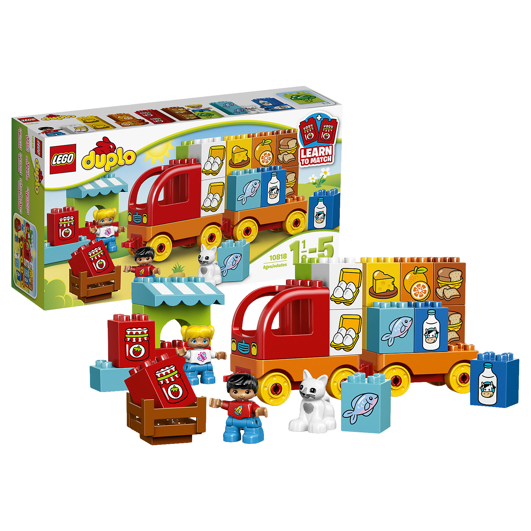 LEGO DUPLO 10818: Мой первый грузовикLEGO DUPLO (ЛЕГО Дупло) 10818: Мой первый грузовик - увлекательный игровой набор, который станет замечательным подарком для Вашего малыша. Из ярких деталей он сможет самостоятельно собрать красочный грузовик с прицепом и местом для водителя. Загрузите кузов разнообразными продуктами (в комплект входят 8 пар разноцветных блоков, декорированных изображениями продуктов) и отправляйтесь в путь. Можно соорудить рыночный киоск с навесом и открыть торговлю. Все детали разработаны специально для маленьких детских ручек. Набор предоставляет большие возможности для веселых ролевых игр и развития фантазии.<br><br>ЛЕГО Дупло - серия конструкторов для малышей, которую отличают крупные яркие детали со скругленными углами и многообразие игровых сюжетов, это и животные, и растения, и машинки, и сказочные персонажи. <br><br>Дополнительная информация:<br><br>- Игра с конструктором LEGO (ЛЕГО) развивает мелкую моторику ребенка, фантазию и воображение, учит его усидчивости и внимательности.<br>- Количество деталей: 29.<br>- Количество минифигур: 3 (водитель, продавщица, кошечка).<br>- Серия: LEGO DUPLO (ЛЕГО Дупло). <br>- Материал: пластик.<br>- Размер упаковки: 35,5 х 9 х 19 см.<br>- Вес: 0,63 кг.<br><br>Конструктор LEGO DUPLO (ЛЕГО Дупло) 10818: Мой первый грузовик можно купить в нашем интернет-магазине.<br><br>Ширина мм: 357<br>Глубина мм: 192<br>Высота мм: 96<br>Вес г: 613<br>Возраст от месяцев: 18<br>Возраст до месяцев: 60<br>Пол: Мужской<br>Возраст: Детский<br>SKU: 4259151