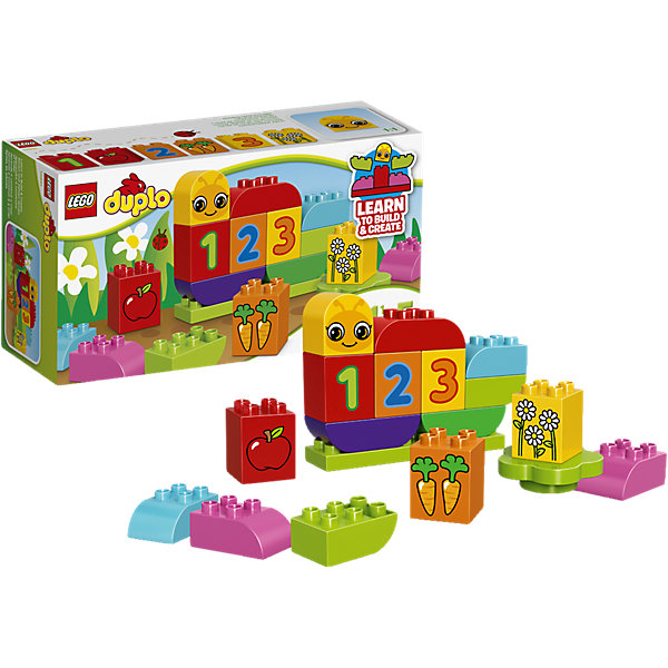 LEGO DUPLO 10831: Моя веселая гусеницаКонструкторы Лего<br>LEGO DUPLO (ЛЕГО Дупло) 10831: Моя веселая гусеница идеально подойдет для самых маленьких строителей. Из ярких деталей он сможет самостоятельно собрать веселую гусеницу а затем легко превратить ее в красочную бабочку. А с помощью входящих в комплект декорированных блоков с цифрами и рисунками можно научить малыша счету от 1 до 3. Все детали разработаны специально для маленьких детских ручек. Набор предоставляет большие возможности для веселых ролевых игр и развития фантазии.<br><br>ЛЕГО Дупло - серия конструкторов для малышей, которую отличают крупные яркие детали со скругленными углами и многообразие игровых сюжетов, это и животные, и растения, и машинки, и сказочные персонажи. <br><br>Дополнительная информация:<br><br>- Игра с конструктором LEGO (ЛЕГО) развивает мелкую моторику ребенка, фантазию и воображение, учит его усидчивости и внимательности.<br>- Количество деталей: 19.<br>- Количество минифигур: 0.<br>- Серия: LEGO DUPLO (ЛЕГО Дупло). <br>- Материал: пластик.<br>- Размер упаковки: 26 х 9 х 14 см.<br>- Вес: 0,31 кг.<br><br>Конструктор LEGO DUPLO (ЛЕГО Дупло) 10831: Моя веселая гусеница можно купить в нашем интернет-магазине.<br><br>Ширина мм: 265<br>Глубина мм: 144<br>Высота мм: 93<br>Вес г: 328<br>Возраст от месяцев: 18<br>Возраст до месяцев: 60<br>Пол: Унисекс<br>Возраст: Детский<br>SKU: 4259153