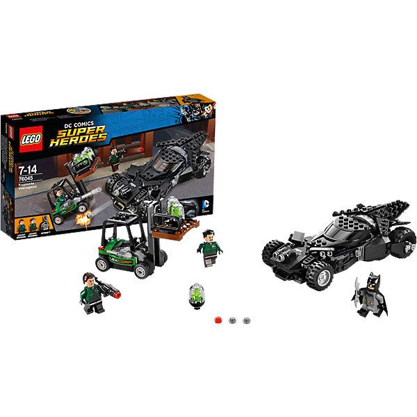 LEGO Super Heroes 76045: Перехват криптонитаКонструкторы Лего<br>Спеши вместе с Бэтменом к пристани, где приспешники LexCorp грузят криптонит. Стреляй из шипованных шутеров Бэтмобиля и уворачивайся от маневренных ракет вильчатого погрузчика. Открой двери Бэтмобиля и начни атаку с помощью серебряного бэтаранга Бэтмена. Взорви криптонит из погрузчика и уворачивайся от выстрелов базуки бандитов. Удастся ли Бэтмену сбежать со своим токсичным грузом?<br><br>LEGO Super Heroes (ЛЕГО Супер Герои) - серия конструкторов созданная специально по мотивам всеми известных комиксов. Спасай мир и борись со злом вместе с любимыми супергероями! Наборы серии можно комбинировать между собой, давая безграничные просторы для фантазии и придумывая свои новые истории. <br><br>Дополнительная информация:<br><br>- Конструкторы ЛЕГО развивают усидчивость, внимание, фантазию и мелкую моторику. <br>- 3 минифигурки в комплекте: 2 рабочих, Бэтмен. <br>- В комплекте 3 минифигурки, аксессуары, Бэтмобиль, погрузчик.<br>- Количество деталей: 306<br>- Серия ЛЕГО Супер Герои (LEGO Super Heroes).<br>- Материал: пластик.<br>- Размер упаковки: 35,4х6х19 см.<br>- Вес: 0.435 кг.<br><br>Конструктор LEGO Super Heroes 76045: Перехват криптонита можно купить в нашем магазине.<br><br>Ширина мм: 354<br>Глубина мм: 189<br>Высота мм: 64<br>Вес г: 470<br>Возраст от месяцев: 84<br>Возраст до месяцев: 168<br>Пол: Мужской<br>Возраст: Детский<br>SKU: 4259155