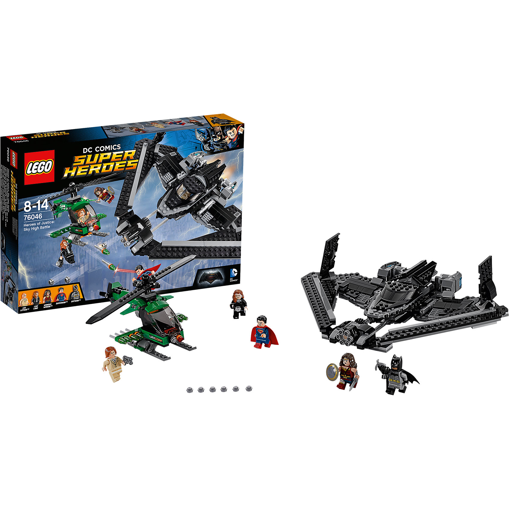 LEGO Super Heroes 76046: Поединок в небеБэтмен<br>Объедини силы с Супергероями, чтобы бросить вызов Лексу Лютору в захватывающей битве высоко в небе над Метрополисом. Запусти Бэтмолёт с Бэтменом в кабине и разверни крылья. Отправляйся в полёт вместе с Суперменом и Чудо-женщиной, чтобы спасти Лоис от падения. Уворачивайся от криптонитовых маневренных ракет вертолета LexCorp и стреляй в ответ из потрясающего скорострельного шутера Бэтмолёта. Затем перенеси битву на улицы города, действуя захватным крюком Бэтмена.<br><br>LEGO Super Heroes (ЛЕГО Супер Герои) - серия конструкторов созданная специально по мотивам всеми известных комиксов. Спасай мир и борись со злом вместе с любимыми супергероями! Наборы серии можно комбинировать между собой, давая безграничные просторы для фантазии и придумывая свои новые истории. <br><br>Дополнительная информация:<br><br>- Конструкторы ЛЕГО развивают усидчивость, внимание, фантазию и мелкую моторику. <br>- 5 минифигурок в комплекте: Бэтмен, Чудо-женщина, Супермен, Лоис, Лекс Лютер. <br>- В комплекте 5 минифигурок, аксессуары, вертолет, Бэтмолёт.<br>- Количество деталей: 517.<br>- Серия ЛЕГО Супер Герои (LEGO Super Heroes).<br>- Материал: пластик.<br>- Размер упаковки: 38х7х26 см.<br>- Вес: 0.8 кг.<br><br>Конструктор LEGO Super Heroes 76046: Поединок в небе можно купить в нашем магазине.<br><br>Ширина мм: 381<br>Глубина мм: 261<br>Высота мм: 73<br>Вес г: 798<br>Возраст от месяцев: 96<br>Возраст до месяцев: 168<br>Пол: Мужской<br>Возраст: Детский<br>SKU: 4259156