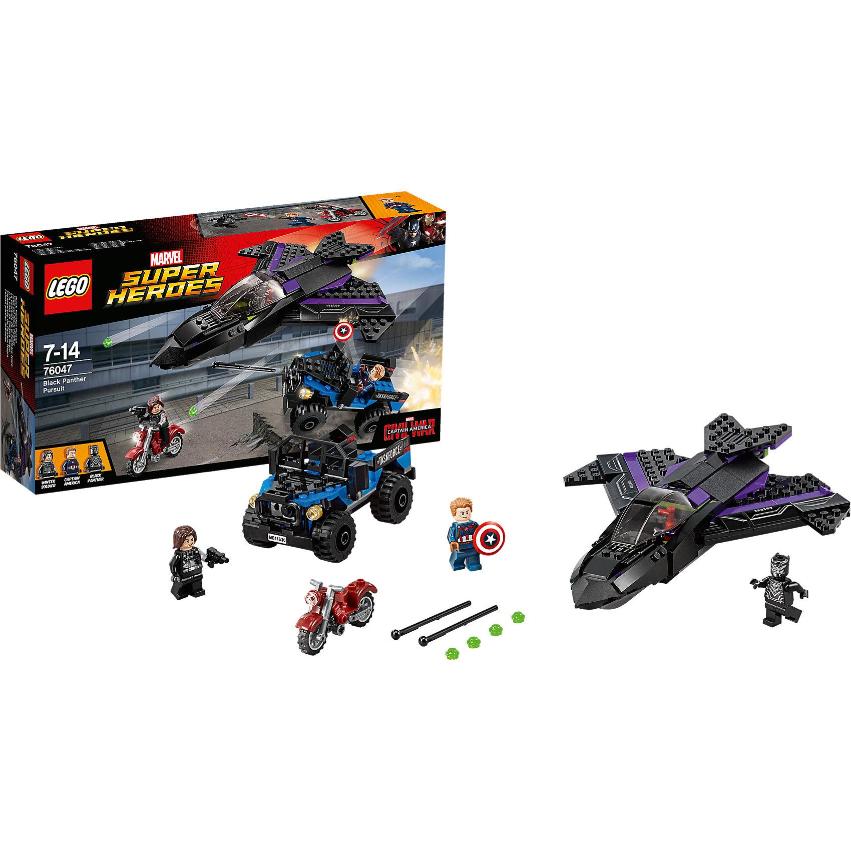 LEGO Super Heroes 76047: Преследование Чёрной ПантерыПластмассовые конструкторы<br>Открой огонь по Зимнему солдату, мчащемуся на своем мотоцикле, из оружия на реактивном самолете. Вступай в высокотехнологичный бой вместе с Капитаном Америка. Начни огонь из пружинного пистолета и отбрось щит Капитана Америка в воздух!<br><br>LEGO Super Heroes (ЛЕГО Супер Герои) - серия конструкторов созданная специально по мотивам всеми известных комиксов. Спасай мир и борись со злом вместе с любимыми супергероями! Наборы серии можно комбинировать между собой, давая безграничные просторы для фантазии и придумывая свои новые истории. <br><br>Дополнительная информация:<br><br>- Конструкторы ЛЕГО развивают усидчивость, внимание, фантазию и мелкую моторику. <br>- 3 минифигурки в комплекте: <br>- В комплекте 3 минифигурки, аксессуары, джип, самолет, байк. <br>- Колеса машины вращаются.<br>- Количество деталей: 287.<br>- Серия ЛЕГО Супер Герои (LEGO Super Heroes).<br>- Материал: пластик.<br>- Размер упаковки: 35,4х7х19 см.<br>- Вес: 0.535 кг.<br><br>Конструктор LEGO Super Heroes 76047: Преследование Чёрной Пантеры можно купить в нашем магазине.<br><br>Ширина мм: 355<br>Глубина мм: 192<br>Высота мм: 76<br>Вес г: 531<br>Возраст от месяцев: 84<br>Возраст до месяцев: 168<br>Пол: Мужской<br>Возраст: Детский<br>SKU: 4259157