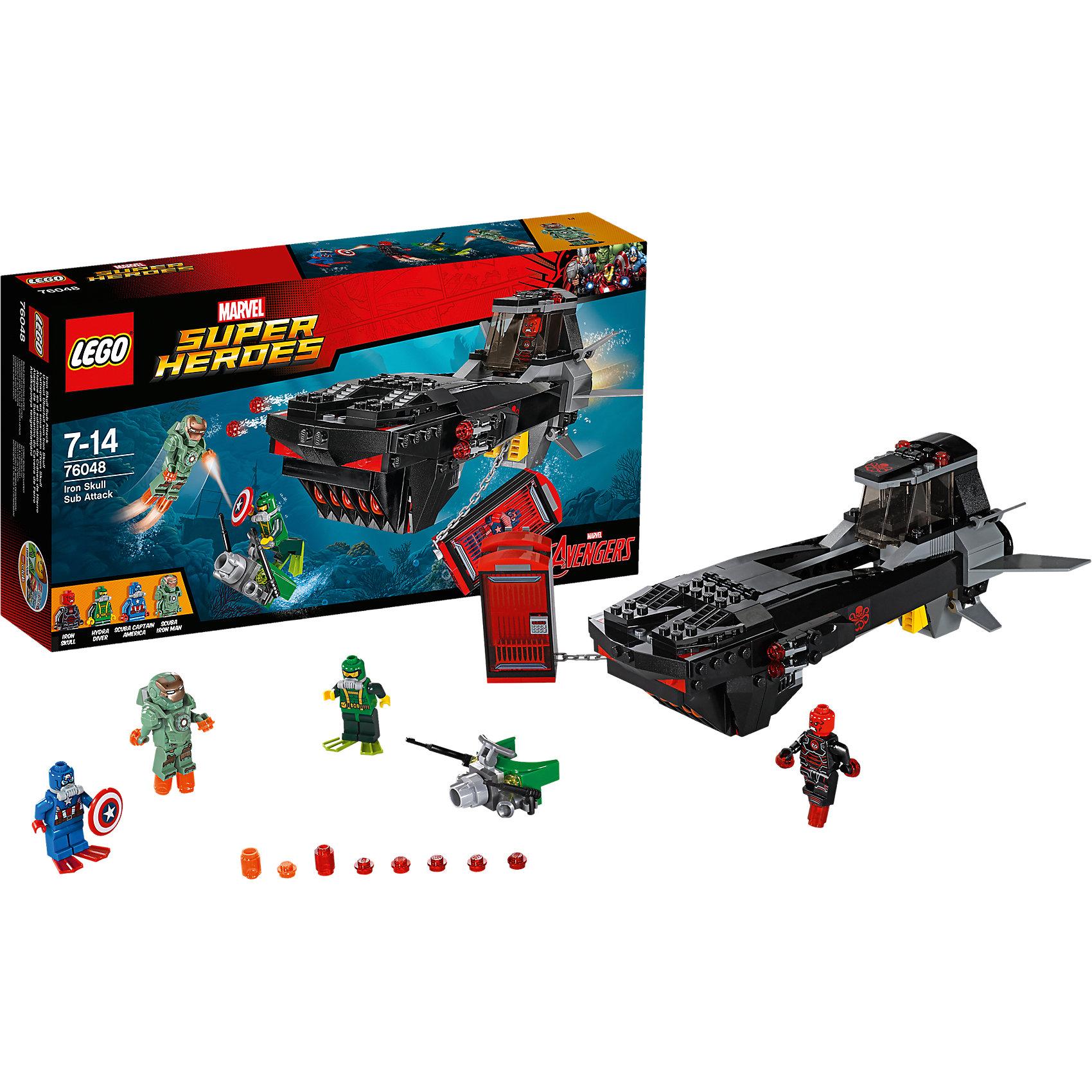 LEGO Super Heroes 76048: Похищение Капитана АмерикаЖелезный череп поймал Капитана Америка в ловушку на своей удивительной подводной лодке! Погрузись глубоко под воду вместе с Железным человеком в костюме водолаза, чтобы спасти одного из Мстителей. Отражай атаки Гидры и уворачивайся от выстрелов из шутеров подлодки. Затем встреться лицом к лицу с Железным черепом и срази его, чтобы освободить Капитана Америка!<br><br>LEGO Super Heroes (ЛЕГО Супер Герои) - серия конструкторов созданная специально по мотивам всеми известных комиксов. Спасай мир и борись со злом вместе с любимыми супергероями! Наборы серии можно комбинировать между собой, давая безграничные просторы для фантазии и придумывая свои новые истории. <br><br>Дополнительная информация:<br><br>- Конструкторы ЛЕГО развивают усидчивость, внимание, фантазию и мелкую моторику. <br>- 4 минифигурки в комплекте, Железный Человек, Железный Череп, Капитан Америка, Гидра. <br>- В комплекте 4 минифигурки, аксессуары, подводная лодка с клеткой. <br>- Количество деталей: 335.<br>- Серия ЛЕГО Супер Герои (LEGO Super Heroes).<br>- Материал: пластик.<br>- Размер упаковки: 35,4х7х19 см.<br>- Вес: 0.54 кг.<br><br>Конструктор LEGO Super Heroes 76048: Похищение Капитана Америка можно купить в нашем магазине.<br><br>Ширина мм: 355<br>Глубина мм: 192<br>Высота мм: 73<br>Вес г: 540<br>Возраст от месяцев: 84<br>Возраст до месяцев: 168<br>Пол: Мужской<br>Возраст: Детский<br>SKU: 4259158