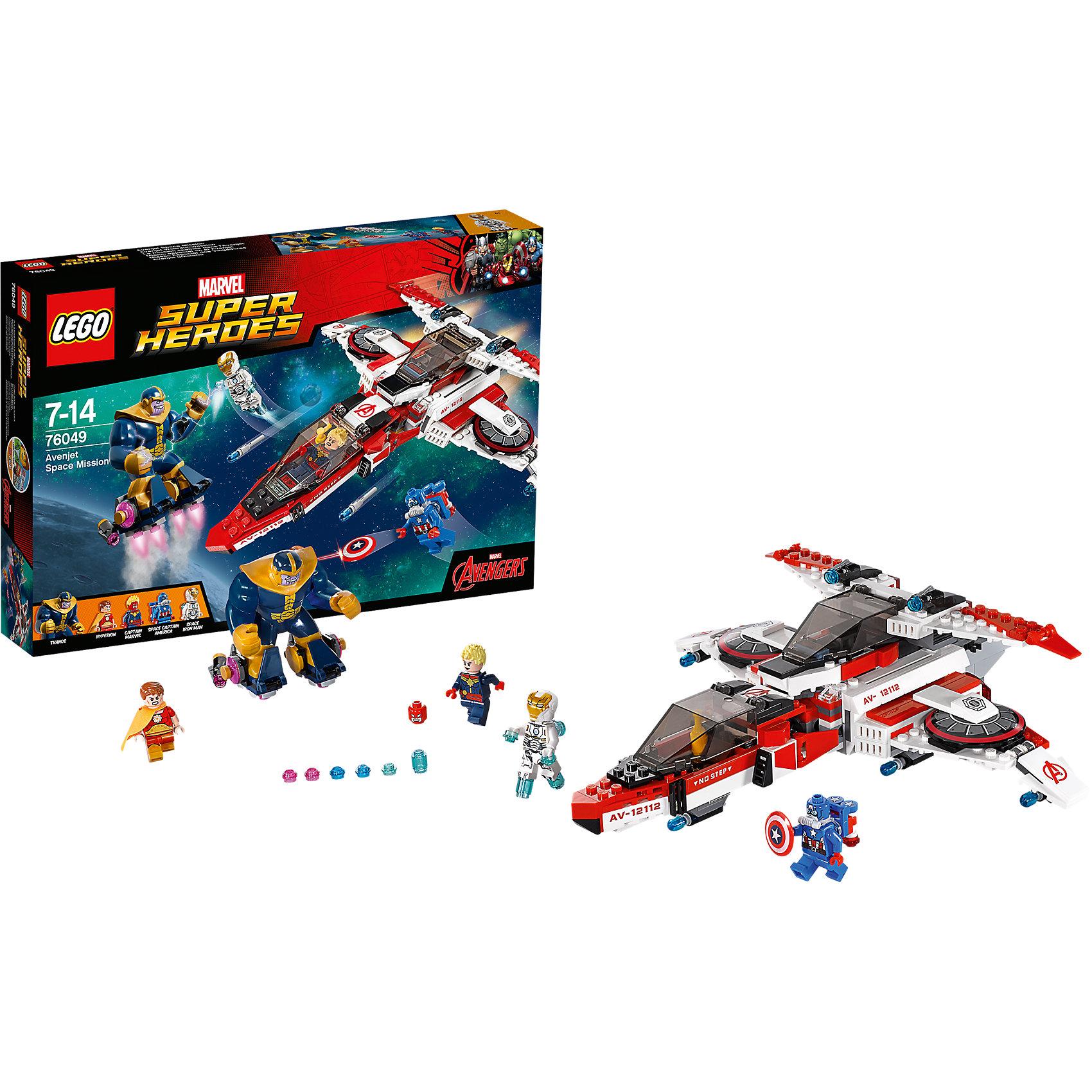 LEGO Super Heroes 76049: Реактивный самолёт Мстителей: космическая миссияПластмассовые конструкторы<br>Могучие Танос и Гиперион готовятся напасть на Землю! Помоги Железному человеку, Капитану Марвелу и Капитану Америка остановить их с помощью супер-скоростного реактивного самолёта Мстителей. Атакуй манёвренными ракетами, затем выпускай мини-самолет и стреляй из его шутеров. Смогут ли супергерои спасти планету?<br><br>LEGO Super Heroes (ЛЕГО Супер Герои) - серия конструкторов созданная специально по мотивам всеми известных комиксов. Спасай мир и борись со злом вместе с любимыми супергероями! Наборы серии можно комбинировать между собой, давая безграничные просторы для фантазии и придумывая свои новые истории. <br><br>Дополнительная информация:<br><br>- Конструкторы ЛЕГО развивают усидчивость, внимание, фантазию и мелкую моторику. <br>- 4 минифигурки в комплекте.<br>- В комплекте 4 минифигурки, аксессуары, реактивный самолет.<br>- Количество деталей: 523.<br>- Серия ЛЕГО Супер Герои (LEGO Super Heroes).<br>- Материал: пластик.<br>- Размер упаковки: 38х5,6х26 см.<br>- Вес: 0.71 кг.<br><br>Конструктор LEGO Super Heroes 76049: Реактивный самолёт Мстителей: космическая миссия можно купить в нашем магазине.<br><br>Ширина мм: 384<br>Глубина мм: 263<br>Высота мм: 63<br>Вес г: 730<br>Возраст от месяцев: 84<br>Возраст до месяцев: 168<br>Пол: Мужской<br>Возраст: Детский<br>SKU: 4259159