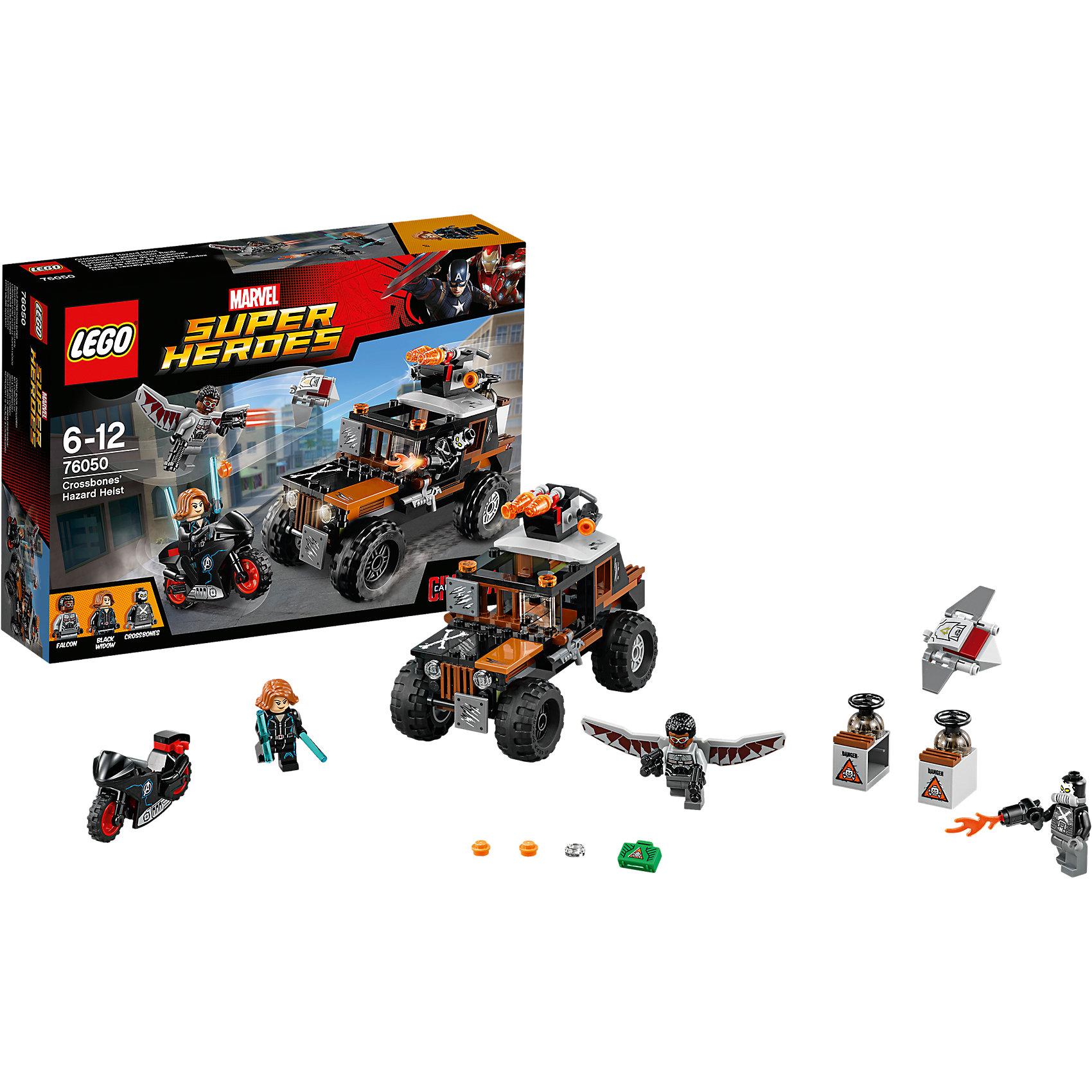 LEGO Super Heroes 76050: Опасное ограблениеПластмассовые конструкторы<br>Злодей Кроссбоунс украл опасное ядовитое вещество и спрятал его в контейнере грузовика. Объединись с Чёрной Вдовой и Фальконом, чтобы остановить его. Устрой погоню на байке Чёрной Вдовы, с помощью её жезла ты сможешь отражать удары пушки, установленной на грузовике. Вступи в сражение с Фальконом и отсоедини дрона Редвинга. Взорви контейнер, прикрепи сумку к дрону и верни его обратно в целости и сохранности!<br><br>LEGO Super Heroes (ЛЕГО Супер Герои) - серия конструкторов созданная специально по мотивам всеми известных комиксов. Спасай мир и борись со злом вместе с любимыми супергероями! Наборы серии можно комбинировать между собой, давая безграничные просторы для фантазии и придумывая свои новые истории. <br><br>Дополнительная информация:<br><br>- Конструкторы ЛЕГО развивают усидчивость, внимание, фантазию и мелкую моторику. <br>- 3 минифигурки в комплекте: Черная Вдова, Фалькон, Кроссбоунс.<br>- В комплекте 3 минифигурки, аксессуары, байк, грузовик, пушка, контейнер, сумка.<br>- Колеса машины вращаются.<br>- Количество деталей: 179.<br>- Серия ЛЕГО Супер Герои (LEGO Super Heroes).<br>- Материал: пластик.<br>- Размер упаковки: 26х6х19 см.<br>- Вес: 0.345 кг.<br><br>Конструктор LEGO Super Heroes 76050: Опасное ограбление можно купить в нашем магазине.<br><br>Ширина мм: 265<br>Глубина мм: 192<br>Высота мм: 66<br>Вес г: 326<br>Возраст от месяцев: 72<br>Возраст до месяцев: 144<br>Пол: Мужской<br>Возраст: Детский<br>SKU: 4259160