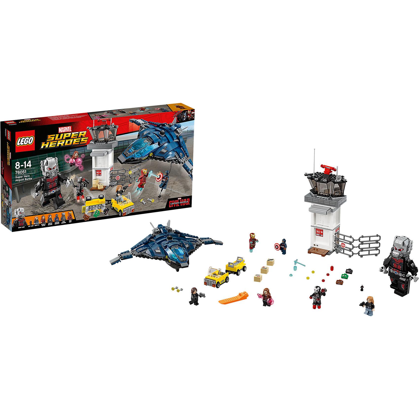 LEGO Super Heroes 76051: Сражение в аэропортуПластмассовые конструкторы<br>Объедини силы с Капитаном Америка, Алой ведьмой, Человеком-муравьем и Агентом 13 для того, чтобы помочь Зимнему солдату ускользнуть на потрясающем квинджете. Проникни в диспетчерскую башню через крошечное отверстие с помощью Человека-муравья и взорви коробки перед башней. Нажми на рычаг в офисе на втором этаже и взорви стены. Подними чемоданы в воздух, взорвав багажную тележку, а потом преврати Человека-муравья в Великана и сразись с Железным человеком! Сбрось крылья квинджета, поднимись в воздух и начни огонь из пушек. Скинь Капитану Америка веревку и лети прочь!<br><br>LEGO Super Heroes (ЛЕГО Супер Герои) - серия конструкторов созданная специально по мотивам всеми известных комиксов. Спасай мир и борись со злом вместе с любимыми супергероями! Наборы серии можно комбинировать между собой, давая безграничные просторы для фантазии и придумывая свои новые истории. <br><br>Дополнительная информация:<br><br>- Конструкторы ЛЕГО развивают усидчивость, внимание, фантазию и мелкую моторику. <br>- 6 минифигурок комплекте: Капитан Америка, Алая Ведьма, Человек-муравей, Агент 13, Зимний солдат, Железный человек. <br>- В комплекте 6 минифигурок, Великан, квинджет, диспетчерская башня, аксессуары. <br>- Количество деталей: 807.<br>- Серия ЛЕГО Супер Герои (LEGO Super Heroes).<br>- Материал: пластик.<br>- Размер упаковки: 54х7,8х28 см.<br>- Вес: 1.15 кг.<br><br>Конструктор LEGO Super Heroes 76051: Сражение в аэропорту можно купить в нашем магазине.<br><br>Ширина мм: 539<br>Глубина мм: 279<br>Высота мм: 81<br>Вес г: 1171<br>Возраст от месяцев: 84<br>Возраст до месяцев: 168<br>Пол: Мужской<br>Возраст: Детский<br>SKU: 4259161