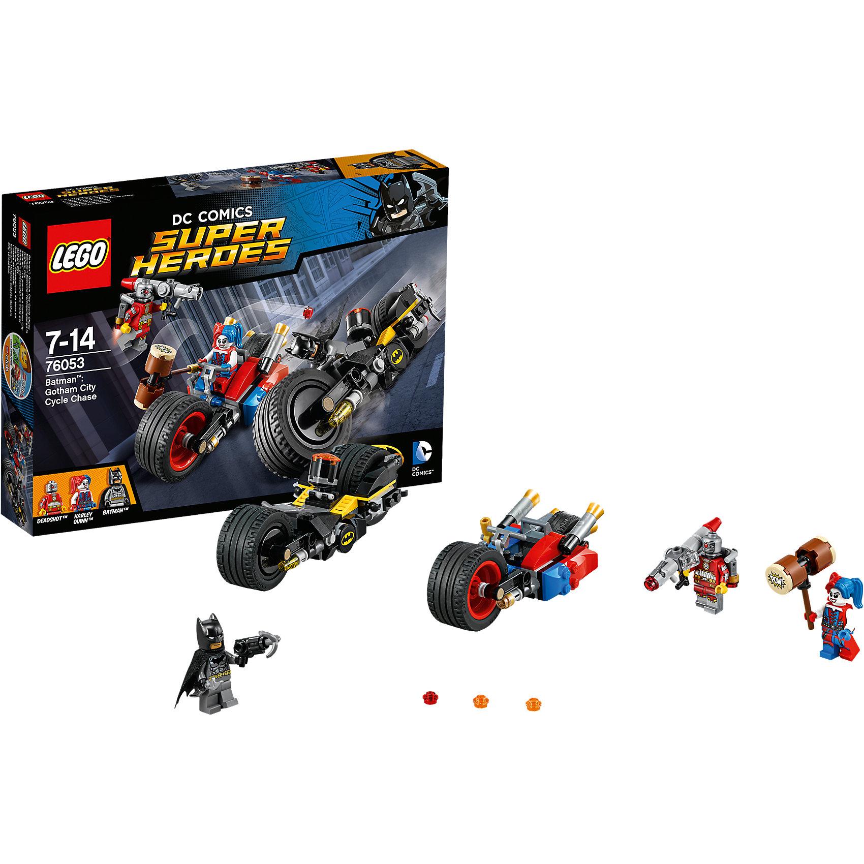 LEGO Super Heroes 76053: Бэтман: Погоня на мотоциклах по Готэм-ситиLEGO Super Heroes<br>Дэдшот летает по городу на своем реактивном ранце и стреляет из базуки, ты должен выгнать его с помощью пушки Бэтмена! Поймай Харли и перенеси схватку на землю, используя Батаранг Бэтмена и его ружье с крюком. Но осторожно— Харли может прикрепить к мотоциклу большой молоток и отправить Бэтмена в полет!<br><br>LEGO Super Heroes (ЛЕГО Супер Герои) - серия конструкторов созданная специально по мотивам всеми известных комиксов. Спасай мир и борись со злом вместе с любимыми супергероями! Наборы серии можно комбинировать между собой, давая безграничные просторы для фантазии и придумывая свои новые истории. <br><br>Дополнительная информация:<br><br>- Конструкторы ЛЕГО развивают усидчивость, внимание, фантазию и мелкую моторику. <br>- 3 минифигурки в комплекте: Харли, Дэдшот, Харли.<br>- В комплекте 3 минифигурки, аксессуары, мотоциклы.<br>- Колеса мотоциклов вращаются.<br>- Количество деталей: 224.<br>- Серия ЛЕГО Супер Герои (LEGO Super Heroes).<br>- Материал: пластик.<br>- Размер упаковки: 26х4,6х19 см.<br>- Вес: 0.315 кг.<br><br>Конструктор LEGO Super Heroes 76053: Бэтмен: Погоня на мотоциклах по Готэм-сити можно купить в нашем магазине.<br><br>Ширина мм: 264<br>Глубина мм: 192<br>Высота мм: 53<br>Вес г: 315<br>Возраст от месяцев: 84<br>Возраст до месяцев: 168<br>Пол: Мужской<br>Возраст: Детский<br>SKU: 4259162