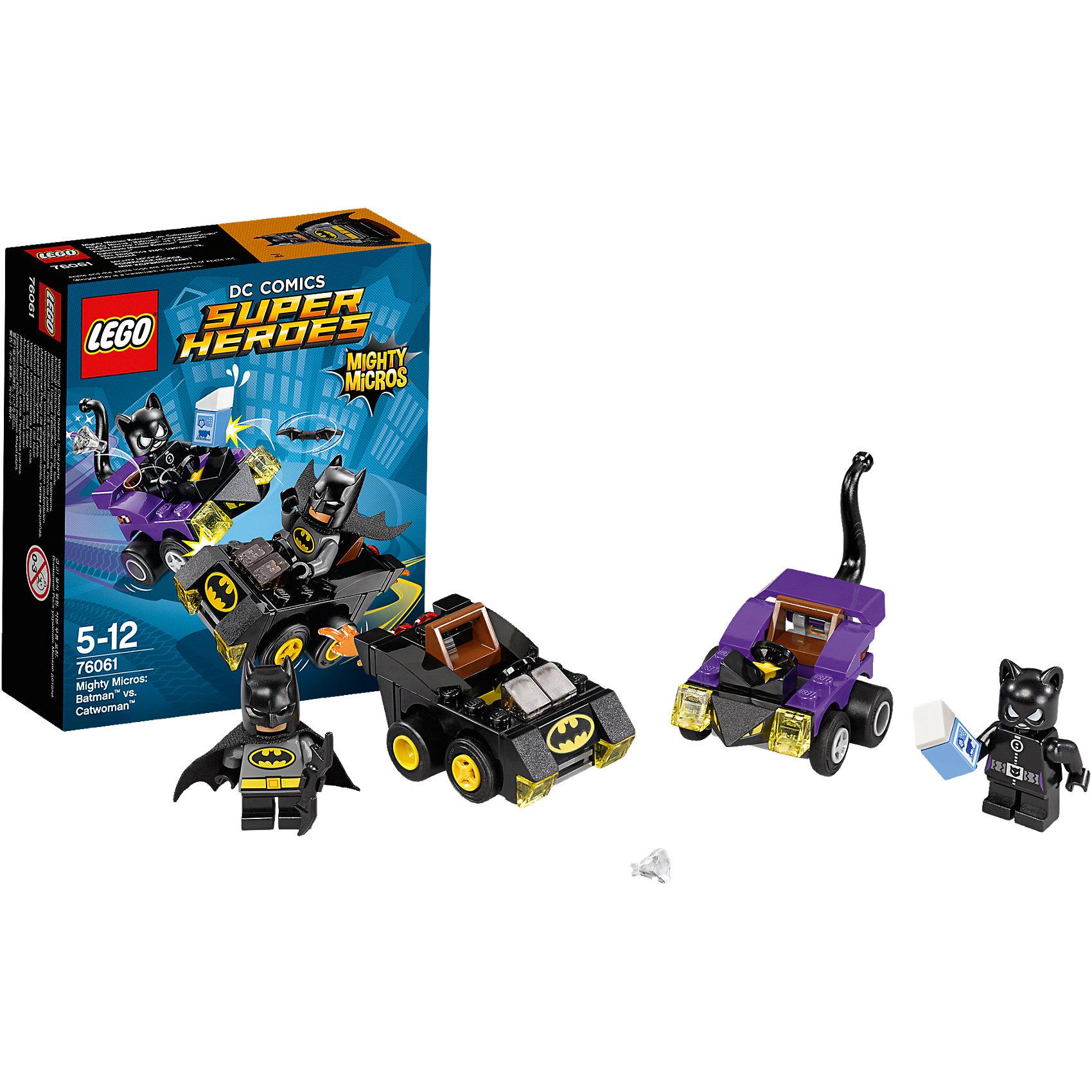 LEGO Super Heroes 76061: Бэтмен против Женщины?кошкиЖенщина?кошка похитила молоко и бриллиант и скрывается на своем кошачьем автомобиле. Лети за ней в погоню на Бэтмобиле. Запусти Батаранг и не дай воришке ускользнуть!<br><br>LEGO Super Heroes (ЛЕГО Супер Герои) - серия конструкторов созданная специально по мотивам всеми известных комиксов. Спасай мир и борись со злом вместе с любимыми супергероями! Наборы серии можно комбинировать между собой, давая безграничные просторы для фантазии и придумывая свои новые истории. <br><br>Дополнительная информация:<br><br>- Конструкторы ЛЕГО развивают усидчивость, внимание, фантазию и мелкую моторику. <br>- 2 минифигурки в комплекте: Бэтмен, Женщина-кошка. <br>- В комплекте 2 минифигурки, машина Женщины-кошки, машина Бэтмена.<br>- Колеса машин вращаются.<br>- Количество деталей: 80.<br>- Серия ЛЕГО Супер Герои (LEGO Super Heroes).<br>- Материал: пластик.<br>- Размер упаковки: 14х4,6х12 см.<br>- Вес: 0.09 кг.<br><br>Конструктор LEGO Super Heroes 76061: Бэтмен против Женщины?кошки можно купить в нашем магазине.<br><br>Ширина мм: 144<br>Глубина мм: 121<br>Высота мм: 48<br>Вес г: 84<br>Возраст от месяцев: 60<br>Возраст до месяцев: 144<br>Пол: Мужской<br>Возраст: Детский<br>SKU: 4259163