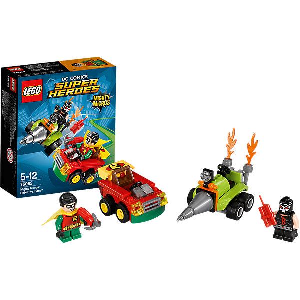 LEGO Super Heroes 76062: Робин против БэйнаLEGO Super Heroes<br>Бэйн пробурил дыру в земле и швыряет динамит в машину Робина. Подъезжай на высокой скорости прямиком к буровой установке Бэйна и направляй ружье Робина на злодея!<br><br>LEGO Super Heroes (ЛЕГО Супер Герои) - серия конструкторов созданная специально по мотивам всеми известных комиксов. Спасай мир и борись со злом вместе с любимыми супергероями! Наборы серии можно комбинировать между собой, давая безграничные просторы для фантазии и придумывая свои новые истории. <br><br>Дополнительная информация:<br><br>- Конструкторы ЛЕГО развивают усидчивость, внимание, фантазию и мелкую моторику. <br>- 2 минифигурки в комплекте: Робин, Бэйн.<br>- В комплекте 2 минифигурки, аксессуары, машина, буровая установка. <br>- Количество деталей: 78.<br>- Серия ЛЕГО Супер Герои (LEGO Super Heroes).<br>- Материал: пластик.<br>- Размер упаковки: 14х4,6х12 см.<br>- Вес: 0.08 кг.<br><br>Конструктор LEGO Super Heroes 76062: Робин против Бэйна можно купить в нашем магазине.<br><br>Ширина мм: 144<br>Глубина мм: 121<br>Высота мм: 48<br>Вес г: 89<br>Возраст от месяцев: 60<br>Возраст до месяцев: 144<br>Пол: Мужской<br>Возраст: Детский<br>SKU: 4259164