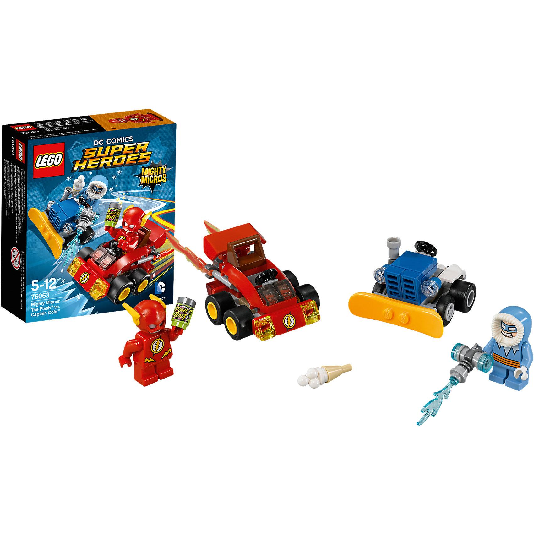 LEGO Super Heroes 76063: Флэш против Капитана ХолодаПластмассовые конструкторы<br>Выпей энергетического напитка и разгони машину Флэша до максимальной скорости. Но осторожно— Капитан Холод стреляет из своего замораживающего ружья, установленного на снегоочистительной машине, чтобы заморозить дорогу. Уворачивайся от льда и догоняй этого леденящего кровь злодея!<br><br>LEGO Super Heroes (ЛЕГО Супер Герои) - серия конструкторов созданная специально по мотивам всеми известных комиксов. Спасай мир и борись со злом вместе с любимыми супергероями! Наборы серии можно комбинировать между собой, давая безграничные просторы для фантазии и придумывая свои новые истории. <br><br>Дополнительная информация:<br><br>- Конструкторы ЛЕГО развивают усидчивость, внимание, фантазию и мелкую моторику. <br>- 2 минифигурки в комплекте: Флэш, Капитан Холод.  <br>- В комплекте 2 минифигурки, машина Флэша, снегоочистительная машина Капитана Холод. <br>- Колеса машин вращаются.<br>- Количество деталей: 89.<br>- Серия ЛЕГО Супер Герои (LEGO Super Heroes).<br>- Материал: пластик.<br>- Размер упаковки: 14х4,6х12 см.<br>- Вес: 0.09 кг.<br><br>Конструктор LEGO Super Heroes 76063: Флэш против Капитана Холода купить в нашем магазине.<br><br>Ширина мм: 144<br>Глубина мм: 121<br>Высота мм: 50<br>Вес г: 83<br>Возраст от месяцев: 60<br>Возраст до месяцев: 144<br>Пол: Мужской<br>Возраст: Детский<br>SKU: 4259165