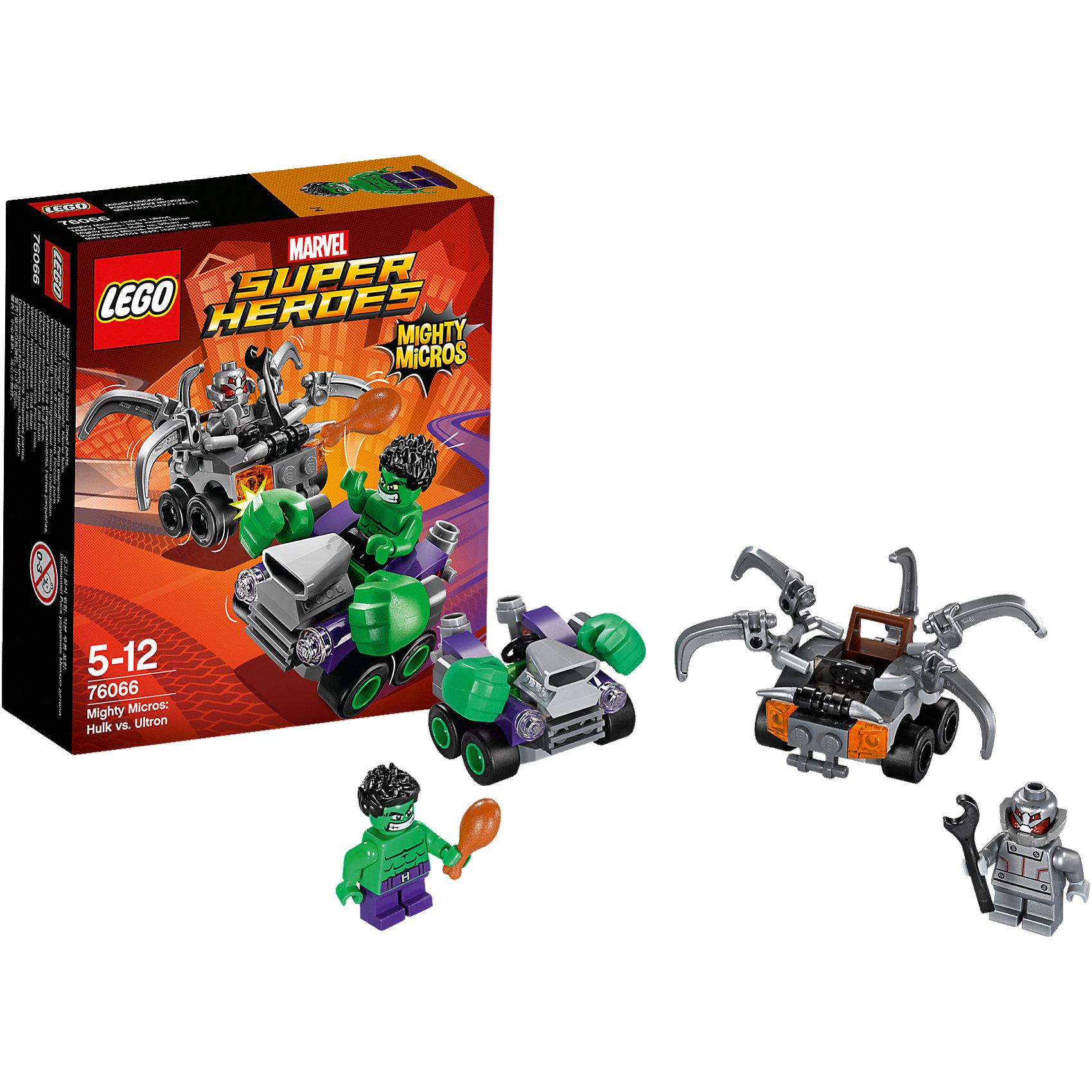 LEGO Super Heroes 76066: Халк против АльтронаУстремись на схватку с Альтроном в крутой зелёной машине Халка с огромными кулаками. Отремонтируй автомобиль Альтрона с помощью гаечного ключа— пусть щупальца движутся вверх и вниз. А потом передохни вместе с Халком и пообедай куриными ножками. Кто победит? Всё зависит от тебя!<br><br>LEGO Super Heroes (ЛЕГО Супер Герои) - серия конструкторов созданная специально по мотивам всеми известных комиксов. Спасай мир и борись со злом вместе с любимыми супергероями! Наборы серии можно комбинировать между собой, давая безграничные просторы для фантазии и придумывая свои новые истории. <br><br>Дополнительная информация:<br><br>- Конструкторы ЛЕГО развивают усидчивость, внимание, фантазию и мелкую моторику. <br>- 2 минифигурки в комплекте: Халк, Альтрон.<br>- В комплекте 2 минифигурки, машина Халка, машина Альтрона.<br>- Колеса машин вращаются.<br>- Количество деталей: 80.<br>- Серия ЛЕГО Супер Герои (LEGO Super Heroes).<br>- Материал: пластик.<br>- Размер упаковки: 14х4,6х12 см.<br>- Вес: 0.09  кг.<br><br>Конструктор LEGO Super Heroes 76066: Халк против Альтрона можно купить в нашем магазине.<br><br>Ширина мм: 144<br>Глубина мм: 121<br>Высота мм: 48<br>Вес г: 85<br>Возраст от месяцев: 60<br>Возраст до месяцев: 144<br>Пол: Мужской<br>Возраст: Детский<br>SKU: 4259168