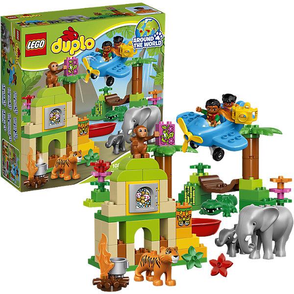 LEGO DUPLO 10804: Вокруг света: АзияПластмассовые конструкторы<br>LEGO DUPLO (ЛЕГО Дупло) 10804: Вокруг света: Азия непременно заинтересует любознательных малышей. Вашему ребенку предстоит увлекательное путешествие по индийским джунглям. Садитесь в маленький самолет и отправляйтесь на поиски приключений, не забыв прихватить с собой фотоаппарат. Маленького исследователя ждут таинственные руины храма, поиски сокровищ и, конечно же, знакомство с местными обитателями - симпатичным слоном, милым слоненком, добродушным тигром, крокодилом и веселой обезьянкой. <br><br>ЛЕГО Дупло - серия конструкторов для малышей, которую отличают крупные яркие детали со скругленными безопасными углами и многообразие игровых сюжетов, это и животные, и растения, и машинки, и сказочные персонажи. <br><br>Дополнительная информация:<br><br>- Игра с конструктором LEGO (ЛЕГО) развивает мелкую моторику ребенка, фантазию и воображение, учит его усидчивости и внимательности.<br>- Количество деталей: 86.<br>- Количество минифигур: 7 (2 человечка, слон, слоненок, тигр, обезьянка, крокодил).<br>- Серия: LEGO DUPLO (ЛЕГО Дупло). <br>- Материал: пластик.<br>- Размер упаковки: 35 х 11 х 37,5 см.<br>- Вес: 1,3 кг.<br><br>Конструктор LEGO DUPLO (ЛЕГО Дупло) 10804: Вокруг света: Азия можно купить в нашем интернет-магазине.<br><br>Ширина мм: 376<br>Глубина мм: 352<br>Высота мм: 122<br>Вес г: 1343<br>Возраст от месяцев: 24<br>Возраст до месяцев: 60<br>Пол: Унисекс<br>Возраст: Детский<br>SKU: 4259172