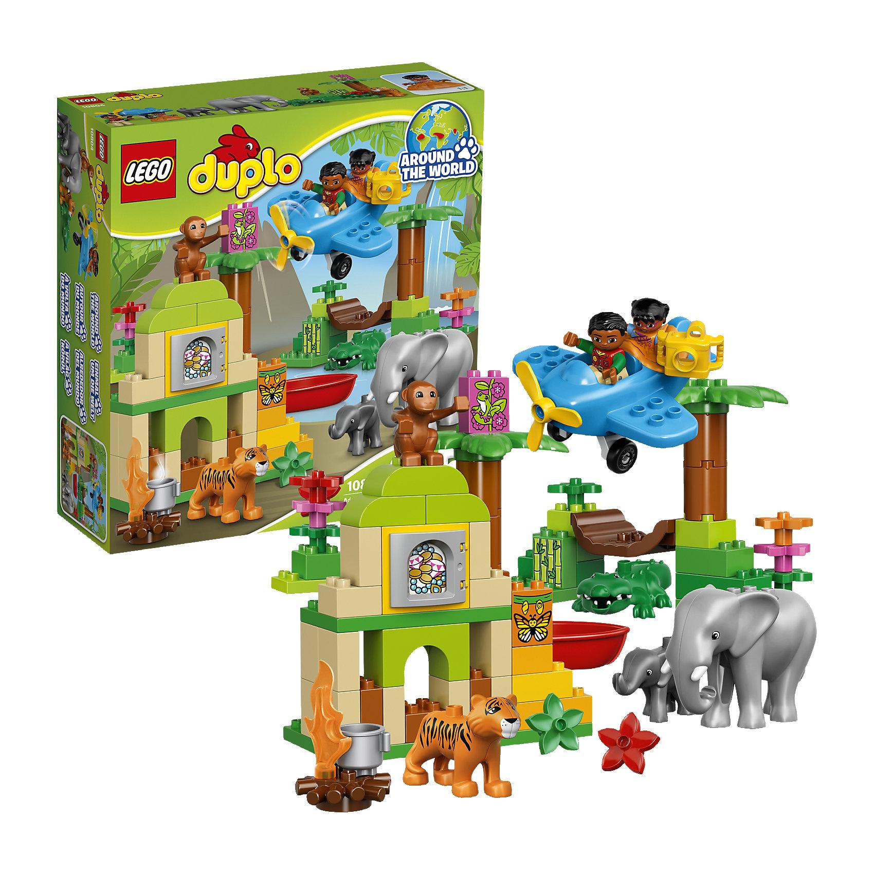 LEGO DUPLO 10804: Вокруг света: АзияLEGO DUPLO (ЛЕГО Дупло) 10804: Вокруг света: Азия непременно заинтересует любознательных малышей. Вашему ребенку предстоит увлекательное путешествие по индийским джунглям. Садитесь в маленький самолет и отправляйтесь на поиски приключений, не забыв прихватить с собой фотоаппарат. Маленького исследователя ждут таинственные руины храма, поиски сокровищ и, конечно же, знакомство с местными обитателями - симпатичным слоном, милым слоненком, добродушным тигром, крокодилом и веселой обезьянкой. <br><br>ЛЕГО Дупло - серия конструкторов для малышей, которую отличают крупные яркие детали со скругленными безопасными углами и многообразие игровых сюжетов, это и животные, и растения, и машинки, и сказочные персонажи. <br><br>Дополнительная информация:<br><br>- Игра с конструктором LEGO (ЛЕГО) развивает мелкую моторику ребенка, фантазию и воображение, учит его усидчивости и внимательности.<br>- Количество деталей: 86.<br>- Количество минифигур: 7 (2 человечка, слон, слоненок, тигр, обезьянка, крокодил).<br>- Серия: LEGO DUPLO (ЛЕГО Дупло). <br>- Материал: пластик.<br>- Размер упаковки: 35 х 11 х 37,5 см.<br>- Вес: 1,3 кг.<br><br>Конструктор LEGO DUPLO (ЛЕГО Дупло) 10804: Вокруг света: Азия можно купить в нашем интернет-магазине.<br><br>Ширина мм: 377<br>Глубина мм: 353<br>Высота мм: 119<br>Вес г: 1352<br>Возраст от месяцев: 24<br>Возраст до месяцев: 60<br>Пол: Унисекс<br>Возраст: Детский<br>SKU: 4259172