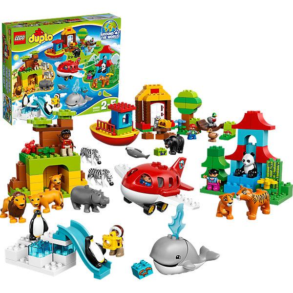 LEGO DUPLO 10805: Вокруг светаПластмассовые конструкторы<br>LEGO DUPLO (ЛЕГО Дупло) 10805: Вокруг света непременно заинтересует любознательных малышей. Ваш ребенок познакомится с животными со всех концов света, узнает как они называются, как выглядят и где живут в дикой природе. Используйте самолет или лодку чтобы добраться в самые далекие уголки мира и увидеть животных в их естественной среде обитания. Разнообразные детали помогут выстроить элементы ландшафта разных континентов (африканскую саванну, лиственный лес, арктический пейзаж) и различные постройки (лесной домик, горку, буддийский храм и другие). В набор входят 5 фигурок человечков LEGO DUPLO, а также 17 животных со всего мира, в том числе кит с открывающейся пастью!<br><br>ЛЕГО Дупло - серия конструкторов для малышей, которую отличают крупные яркие детали со скругленными безопасными углами и многообразие игровых сюжетов, это и животные, и растения, и машинки, и сказочные персонажи. <br><br>Дополнительная информация:<br><br>- Игра с конструктором LEGO (ЛЕГО) развивает мелкую моторику ребенка, фантазию и воображение, учит его усидчивости и внимательности.<br>- Количество деталей: 163.<br>- Количество минифигур: 22 (5 человечков, 17 животных: тигр с тигренком, 2 льва, кит, 2 зебры, бегемот, медведь, панда, пингвин, 2 утки и др.).<br>- Серия: LEGO DUPLO (ЛЕГО Дупло). <br>- Материал: пластик.<br>- Размер упаковки: 58 х 12 х 48 см.<br>- Вес: 2,68 кг.<br><br>Конструктор LEGO DUPLO (ЛЕГО Дупло) 10805: Вокруг света можно купить в нашем интернет-магазине.<br>Ширина мм: 585; Глубина мм: 472; Высота мм: 137; Вес г: 2746; Возраст от месяцев: 24; Возраст до месяцев: 60; Пол: Унисекс; Возраст: Детский; SKU: 4259173;