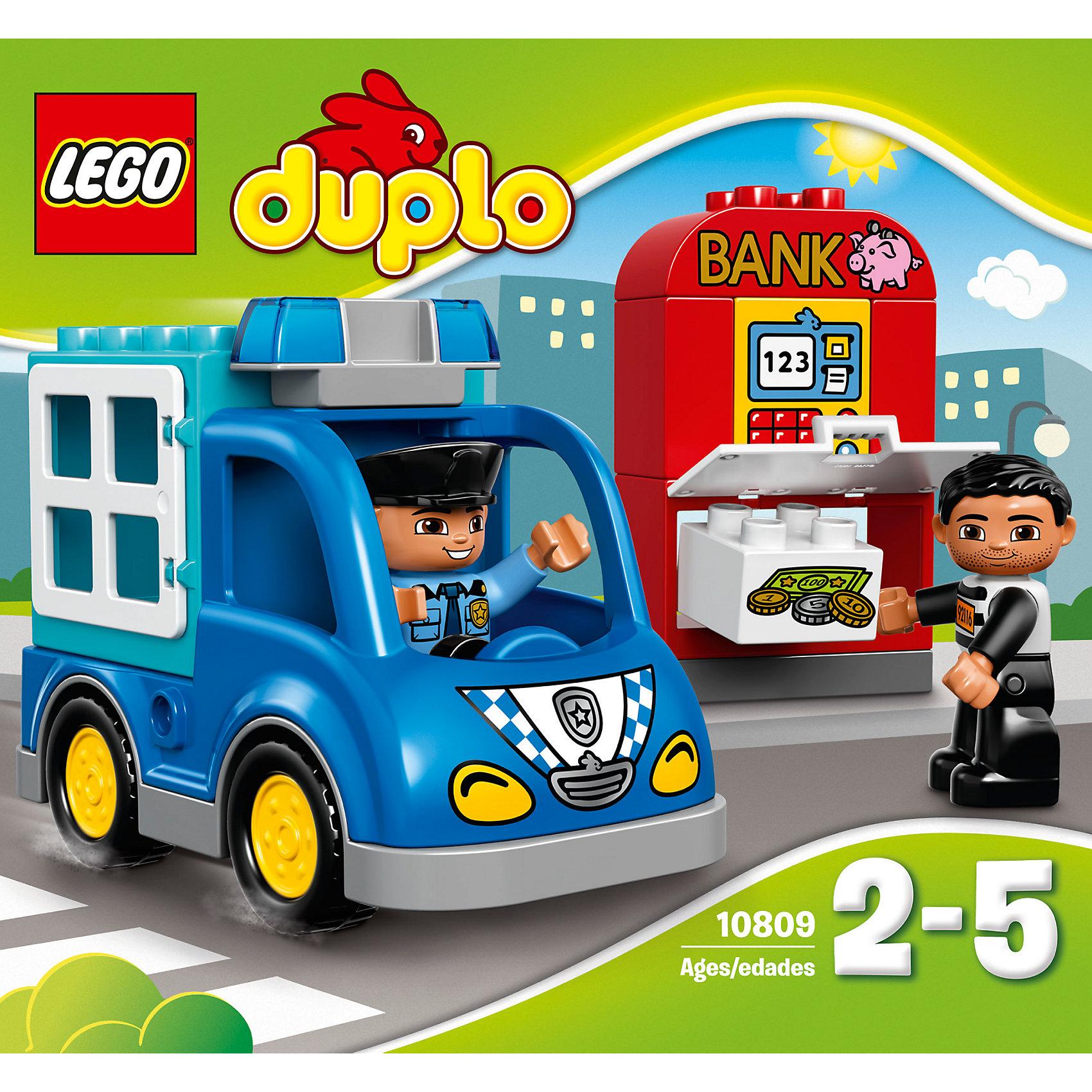 LEGO DUPLO 10809: Полицейский патрульПластмассовые конструкторы<br>LEGO DUPLO (ЛЕГО Дупло) 10809: Полицейский патруль - увлекательный игровой набор, который станет замечательным подарком для Вашего малыша. Воришка совершил налет на банк и пытается унести все деньги. Предложите ребенку собрать синий полицейский фургон и отправляйтесь вместе с храбрым полицейским на место происшествия. Поймайте грабителя на месте преступления и заприте его в кузове фургона, чтобы он не сбежал.<br><br>ЛЕГО Дупло - серия конструкторов для малышей, которую отличает крупные яркие детали со скругленными углами и многообразие игровых сюжетов, это и животные, и растения, и машинки, и сказочные персонажи.<br><br>Дополнительная информация:<br><br>- Игра с конструктором LEGO (ЛЕГО) развивает мелкую моторику ребенка, фантазию и воображение, учит его усидчивости и внимательности.<br>- Количество деталей: 15.<br>- Количество минифигур: 2 (полицейский, грабитель).<br>- Серия: LEGO DUPLO (ЛЕГО Дупло). <br>- Материал: пластик.<br>- Размер упаковки: 20,5 х 9 х 19 см.<br>- Вес: 0,38 кг.<br><br>Конструктор LEGO DUPLO (ЛЕГО Дупло) 10809: Полицейский патруль можно купить в нашем интернет-магазине.<br><br>Ширина мм: 209<br>Глубина мм: 192<br>Высота мм: 93<br>Вес г: 362<br>Возраст от месяцев: 24<br>Возраст до месяцев: 60<br>Пол: Унисекс<br>Возраст: Детский<br>SKU: 4259177