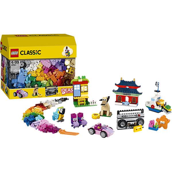 LEGO Classic 10702: Набор кубиков для свободного конструированияПластмассовые конструкторы<br>Используй воображение и с помощью коробки кубиков LEGO Classic, которая послужит для тебя источником вдохновения, создавай невероятные модели. Используй приложенные инструкции и скачивай дополнительные, которые послужат отправной точкой для реализации твоих идей! Дома, животные, машины и даже магнитофон - все это и многое другое ты сможешь собрать с помощью этого набора! <br><br>Наборы для творчества LEGO Classic (ЛЕГО классик)  идеальны для начинающих строителей всех возрастов. Они также дополнят любую имеющуюся коллекцию LEGO. Набор упакован в удобную пластиковую коробку. <br><br>Дополнительная информация:<br><br>- Конструкторы ЛЕГО развивают усидчивость, внимание, фантазию и мелкую моторику. <br>- Материал: гипоаллергенный пластик. <br>- Комплектация: кубики. <br>- Количество деталей: 583 шт.<br>- Серия ЛЕГО Classic (ЛЕГО классик). <br>- Размер упаковки: 16х26х22 см.<br>- Вес: 0,84 кг.<br><br>LEGO Classic 10702: Набор кубиков для свободного конструирования можно купить в нашем магазине.<br>Ширина мм: 267; Глубина мм: 165; Высота мм: 226; Вес г: 821; Возраст от месяцев: 48; Возраст до месяцев: 168; Пол: Унисекс; Возраст: Детский; SKU: 4259179;