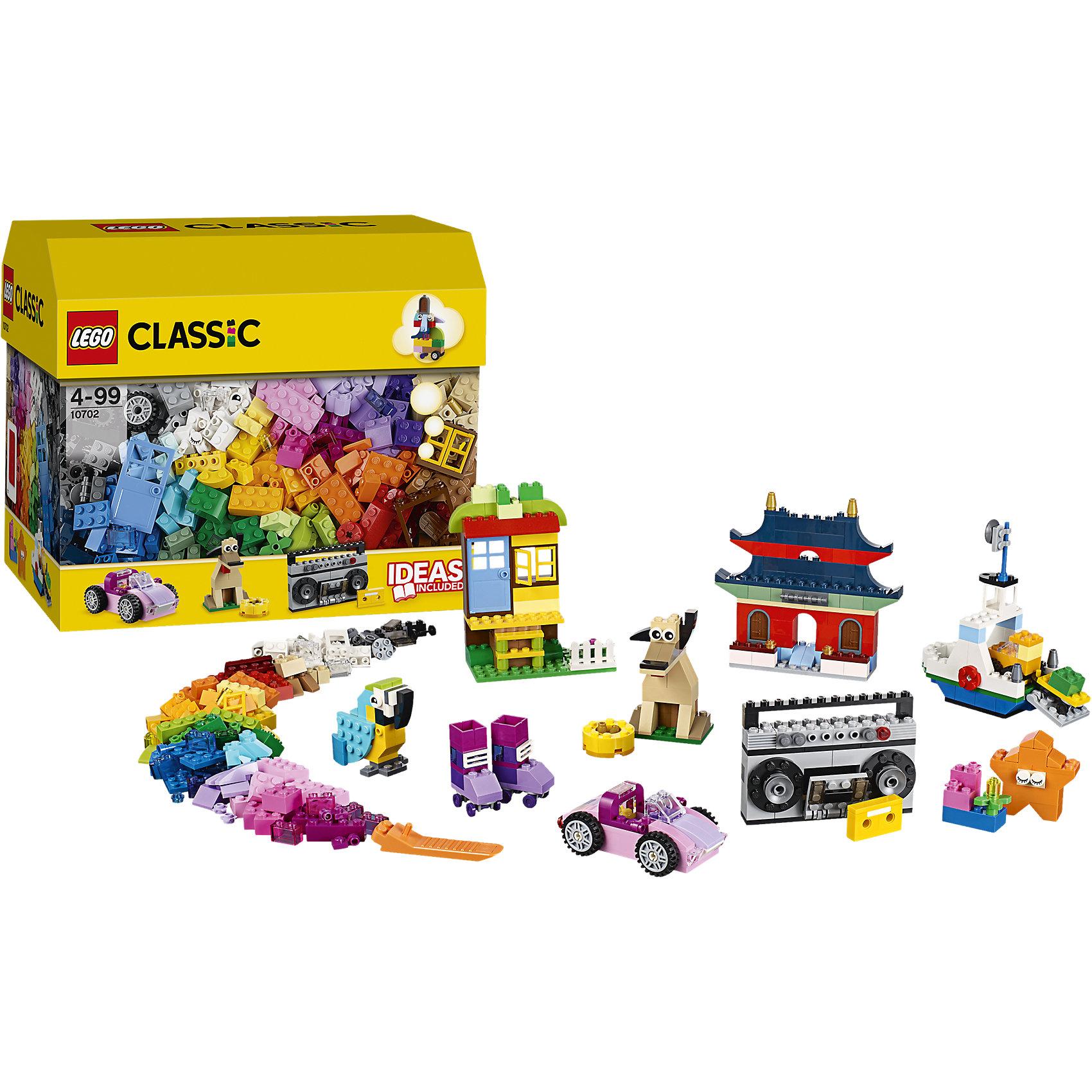 LEGO Classic 10702: Набор кубиков для свободного конструированияПластмассовые конструкторы<br>Используй воображение и с помощью коробки кубиков LEGO Classic, которая послужит для тебя источником вдохновения, создавай невероятные модели. Используй приложенные инструкции и скачивай дополнительные, которые послужат отправной точкой для реализации твоих идей! Дома, животные, машины и даже магнитофон - все это и многое другое ты сможешь собрать с помощью этого набора! <br><br>Наборы для творчества LEGO Classic (ЛЕГО классик)  идеальны для начинающих строителей всех возрастов. Они также дополнят любую имеющуюся коллекцию LEGO. Набор упакован в удобную пластиковую коробку. <br><br>Дополнительная информация:<br><br>- Конструкторы ЛЕГО развивают усидчивость, внимание, фантазию и мелкую моторику. <br>- Материал: гипоаллергенный пластик. <br>- Комплектация: кубики. <br>- Количество деталей: 583 шт.<br>- Серия ЛЕГО Classic (ЛЕГО классик). <br>- Размер упаковки: 16х26х22 см.<br>- Вес: 0,84 кг.<br><br>LEGO Classic 10702: Набор кубиков для свободного конструирования можно купить в нашем магазине.<br><br>Ширина мм: 267<br>Глубина мм: 165<br>Высота мм: 226<br>Вес г: 821<br>Возраст от месяцев: 48<br>Возраст до месяцев: 168<br>Пол: Унисекс<br>Возраст: Детский<br>SKU: 4259179
