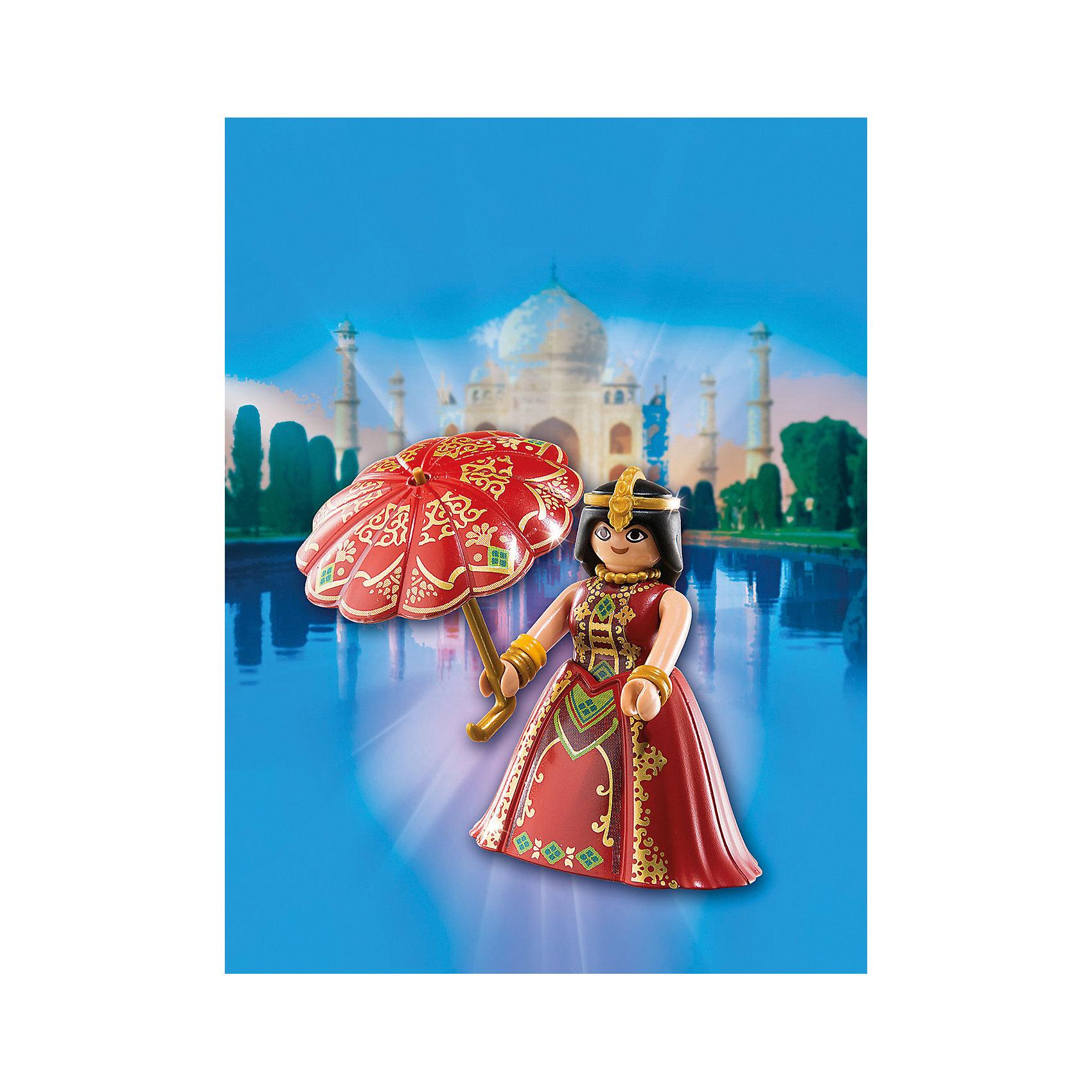 Друзья: Индийская принцесса, PLAYMOBILПластмассовые конструкторы<br>В  этом наборе представлена фигурка утонченной индийской принцессы. Все детали набора прекрасно проработаны, выполнены из высококачественного пластика безопасного для детей. <br><br>Дополнительная информация:<br><br>- Комплектация: фигурка, зонтик.<br>- Материал: пластик.<br>- Размер упаковки: 16х12х3 см.<br>- Высота фигурки: 7,5 см. <br>- Голова, руки, ноги у фигурки подвижные.<br><br>Набор Друзья: Индийская принцесса, PLAYMOBIL (Плеймобил),  можно купить в нашем магазине.<br><br>Ширина мм: 157<br>Глубина мм: 121<br>Высота мм: 55<br>Вес г: 46<br>Возраст от месяцев: 48<br>Возраст до месяцев: 120<br>Пол: Женский<br>Возраст: Детский<br>SKU: 4260577