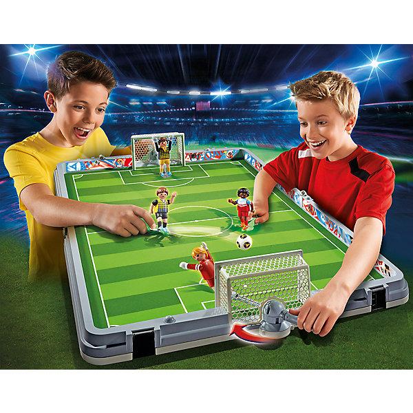 Футбол: Большая футбольная арена, возьми с собой, PLAYMOBILПластмассовые конструкторы<br><br>Ширина мм: 555; Глубина мм: 467; Высота мм: 88; Вес г: 2765; Возраст от месяцев: 60; Возраст до месяцев: 144; Пол: Мужской; Возраст: Детский; SKU: 4260641;