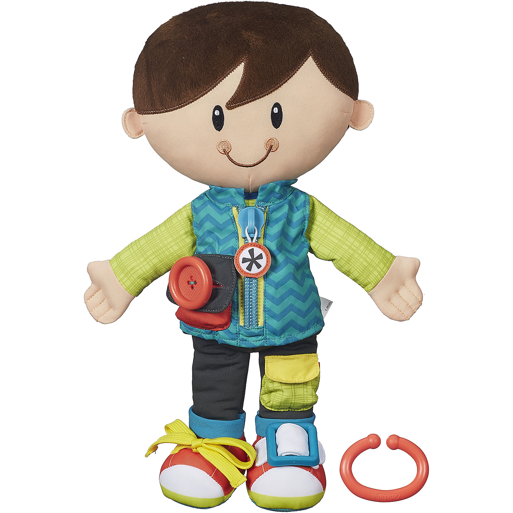 Одень друга и возьми с собой, мальчик, PLAYSKOOLПодвески<br>Одень друга и возьми с собой, мальчик, PLAYSKOOL (ПЛЕЙСКУЛ) – эта игрушка научит малыша расстегивать и застегивать застежки на одежде.<br>Мягкая плюшевая кукла-мальчик создана специально для малышей. Она сшита из мягкого и приятного на ощупь материала. У куклы фетровые волосы темного цвета, а также набивные ручки, ножки и тельце. Её яркий и приветливый дизайн сразу привлечёт детское внимание. На одежде куклы 5 видов застежек: молния, пряжка, пуговица, липучка и узелок. Ребенок может застёгивать и расстёгивать их, изучая застежки, которые используются для обычной одежды. Размер всех застежек идеально подходит для маленьких ручек. В комплект входит пластмассовый крючок, с помощью которого куклу можно легко повесить на сумку или коляску. Игрушка развивает мелкую моторику.<br><br>Дополнительная информация:<br><br>- Количество видов застежек: 5<br>- Виды застежек: молния, пряжка, пуговица, липучка, узелок<br>- Материал: плюш, текстиль, пластмасса<br>- Размер упаковки: 24 х 10 х 37 см.<br><br>Развивающую игрушку Одень друга и возьми с собой, мальчика, PLAYSKOOL (ПЛЕЙСКУЛ) можно купить в нашем интернет-магазине.<br><br>Ширина мм: 371<br>Глубина мм: 248<br>Высота мм: 106<br>Вес г: 356<br>Возраст от месяцев: 24<br>Возраст до месяцев: 48<br>Пол: Мужской<br>Возраст: Детский<br>SKU: 4261590