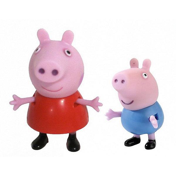 Игровой набор Пеппа и Джордж, Свинка ПеппаИгровые наборы с фигурками<br>Добро пожаловать в мир Свинки Пеппы! С забавными игрушками из серии «Peppa Pig» веселые мультфильмы оживут прямо у вас дома, а малыши станут участниками увлекательных приключений Пеппы и ее друзей.<br> В наборе «Пеппа и Джордж» 2 фигурки, которые могут сидеть, стоять, двигать ручками и ножками. Игрушки выполнены из высококачественных экологичных материалов безопасных для детей. Собери всех героев известного мультсериала, проигрывай любимые сцены или придумывай свои новые истории! <br><br>Дополнительная информация:<br><br>- Материал: пластик.<br>- Руки, ноги фигурок подвижные. <br>- Размер: Пеппа – 5,5 см, Джордж – 4 см. <br><br>Игровой набор Пеппа и Джордж, Свинка Пеппа, можно купить в нашем магазине.<br><br>Ширина мм: 140<br>Глубина мм: 50<br>Высота мм: 155<br>Вес г: 80<br>Возраст от месяцев: 36<br>Возраст до месяцев: 72<br>Пол: Унисекс<br>Возраст: Детский<br>SKU: 4261812