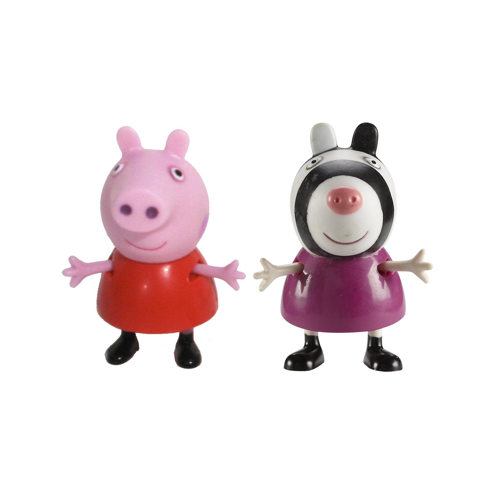 Игровой набор Пеппа и Зои, Свинка ПеппаКоллекционные и игровые фигурки<br>Добро пожаловать в мир Свинки Пеппы! С забавными игрушками из серии «Peppa Pig» веселые мультфильмы оживут прямо у вас дома, а малыши станут участниками увлекательных приключений Пеппы и ее друзей. В наборе Пеппа и Зои 2 фигурки, которые могут сидеть, стоять, двигать ручками и ножками. Игрушки выполнены из высококачественных экологичных материалов безопасных для детей. Собери всех героев известного мультсериала, проигрывай любимые сцены или придумывай свои новые истории! <br><br>Дополнительная информация:<br><br>- Материал: пластик.<br>- Руки, ноги фигурок подвижные. <br>- Размер фигурок: 5 см.<br><br>Игровой набор Пеппа и Зои Свинка Пеппа, можно купить в нашем магазине.<br><br>Ширина мм: 140<br>Глубина мм: 50<br>Высота мм: 155<br>Вес г: 85<br>Возраст от месяцев: 36<br>Возраст до месяцев: 72<br>Пол: Унисекс<br>Возраст: Детский<br>SKU: 4261813