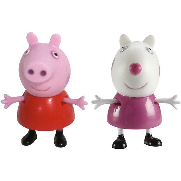 Игровой набор Пеппа и Сьюзи, Свинка ПеппаИгровые наборы с фигурками<br>Добро пожаловать в мир Свинки Пеппы! С забавными игрушками из серии «Peppa Pig» веселые мультфильмы оживут прямо у вас дома, а малыши станут участниками увлекательных приключений Пеппы и ее друзей. В наборе Пеппа и Сьюзи 2 фигурки, которые могут сидеть, стоять, двигать ручками и ножками. Игрушки выполнены из высококачественных экологичных материалов безопасных для детей. Собери всех героев известного мультсериала, проигрывай любимые сцены или придумывай свои новые истории! <br><br>Дополнительная информация:<br><br>- Материал: пластик.<br>- Руки, ноги фигурок подвижные. <br>- Размер фигурок: 5 см.<br><br>Игровой набор Пеппа и Сьюзи Свинка Пеппа, можно купить в нашем магазине.<br><br>Ширина мм: 140<br>Глубина мм: 50<br>Высота мм: 155<br>Вес г: 85<br>Возраст от месяцев: 36<br>Возраст до месяцев: 72<br>Пол: Унисекс<br>Возраст: Детский<br>SKU: 4261817