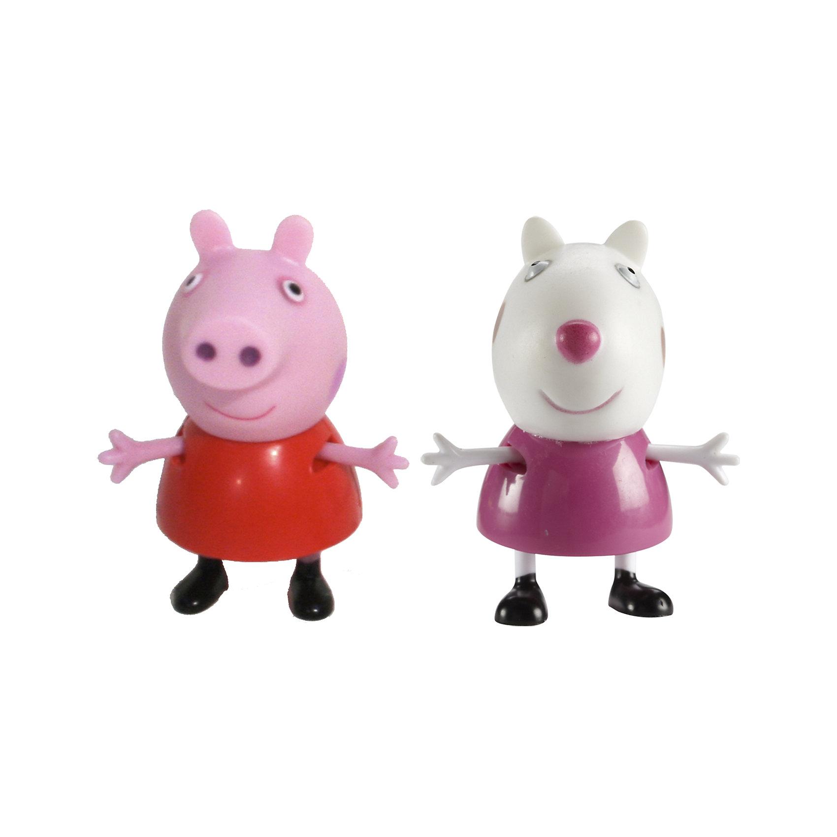 Игровой набор Пеппа и Сьюзи, Свинка ПеппаКоллекционные и игровые фигурки<br>Добро пожаловать в мир Свинки Пеппы! С забавными игрушками из серии «Peppa Pig» веселые мультфильмы оживут прямо у вас дома, а малыши станут участниками увлекательных приключений Пеппы и ее друзей. В наборе Пеппа и Сьюзи 2 фигурки, которые могут сидеть, стоять, двигать ручками и ножками. Игрушки выполнены из высококачественных экологичных материалов безопасных для детей. Собери всех героев известного мультсериала, проигрывай любимые сцены или придумывай свои новые истории! <br><br>Дополнительная информация:<br><br>- Материал: пластик.<br>- Руки, ноги фигурок подвижные. <br>- Размер фигурок: 5 см.<br><br>Игровой набор Пеппа и Сьюзи Свинка Пеппа, можно купить в нашем магазине.<br><br>Ширина мм: 140<br>Глубина мм: 50<br>Высота мм: 155<br>Вес г: 85<br>Возраст от месяцев: 36<br>Возраст до месяцев: 72<br>Пол: Унисекс<br>Возраст: Детский<br>SKU: 4261817