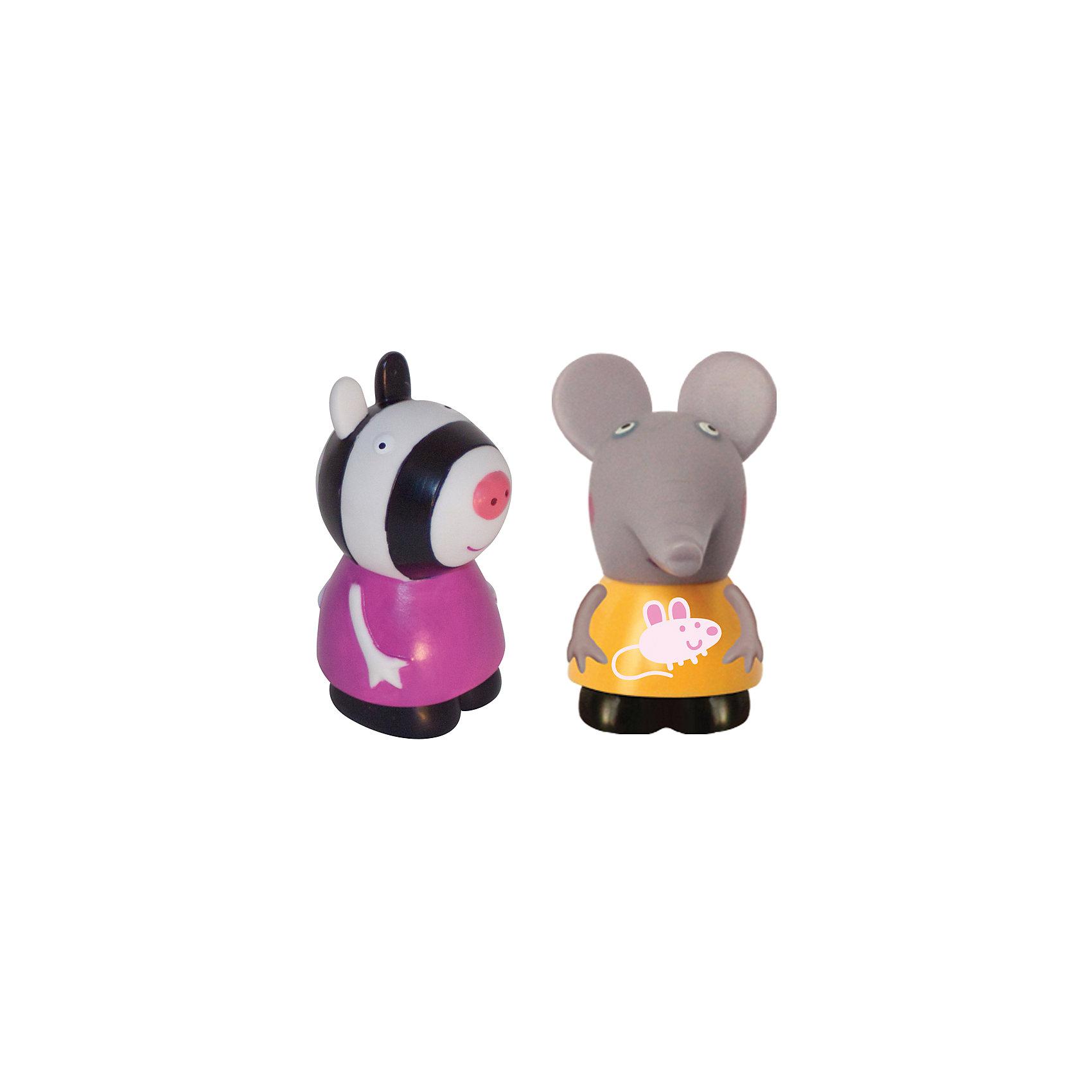 Игровой набор  Эмили и Зои, 10 см, Свинка ПеппаСлоненок Эмили и Зебра Зои желают подружиться с вашим малышом. Пластизолевые фигурки послужат прекрасным дополнением во время водных процедур и превратят купание крохи в праздник. Приятная на ощупь поверхность игрушек развивает тактильное восприятие, а увлекательные сюжетно-ролевые игры с ними помогают малышам обмениваться знаниями, развивать воображение и, конечно, весело проводить время с друзьями. Соберите всех персонажей из серии «Peppa Pig» и забавные мультфильмы о веселой свинке оживут прямо у вас дома. Игрушки выполнены из высококачественных экологичных материалов безопасных для детей. <br><br>Дополнительная информация:<br><br>- Материал: пластизоль.<br>- 2 фигурки в наборе.<br>- Размер фигурок: 10 см.<br><br>Игровой набор  Эмили и Зои, 10 см, Свинка Пеппа, можно купить в нашем магазине.<br><br>Ширина мм: 105<br>Глубина мм: 55<br>Высота мм: 105<br>Вес г: 102<br>Возраст от месяцев: 36<br>Возраст до месяцев: 72<br>Пол: Унисекс<br>Возраст: Детский<br>SKU: 4261819
