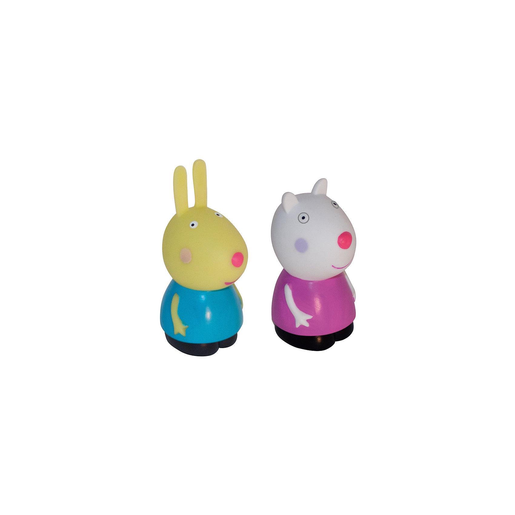 Игровой набор Сьюзи и Ребекка, 10 см, Свинка ПеппаКоллекционные и игровые фигурки<br>Овечка Сьюзи и кролик Ребекка желают подружиться с вашим малышом. Пластизолевые фигурки послужат прекрасным дополнением во время водных процедур и превратят купание крохи в праздник. Приятная на ощупь поверхность игрушек развивает тактильное восприятие, а увлекательные сюжетно-ролевые игры с ними помогают малышам обмениваться знаниями, развивать воображение и, конечно, весело проводить время с друзьями. Соберите всех персонажей из серии «Peppa Pig» и забавные мультфильмы о веселой свинке оживут прямо у вас дома. Игрушки выполнены из высококачественных экологичных материалов безопасных для детей. <br><br>Дополнительная информация:<br><br>- Материал: пластизоль.<br>- 2 фигурки в наборе.<br>- Размер фигурок: 10 см.<br><br>Игровой набор  Сьюзи и Ребекка, 10 см, Свинка Пеппа, можно купить в нашем магазине.<br><br>Ширина мм: 100<br>Глубина мм: 55<br>Высота мм: 120<br>Вес г: 97<br>Возраст от месяцев: 36<br>Возраст до месяцев: 72<br>Пол: Унисекс<br>Возраст: Детский<br>SKU: 4261820