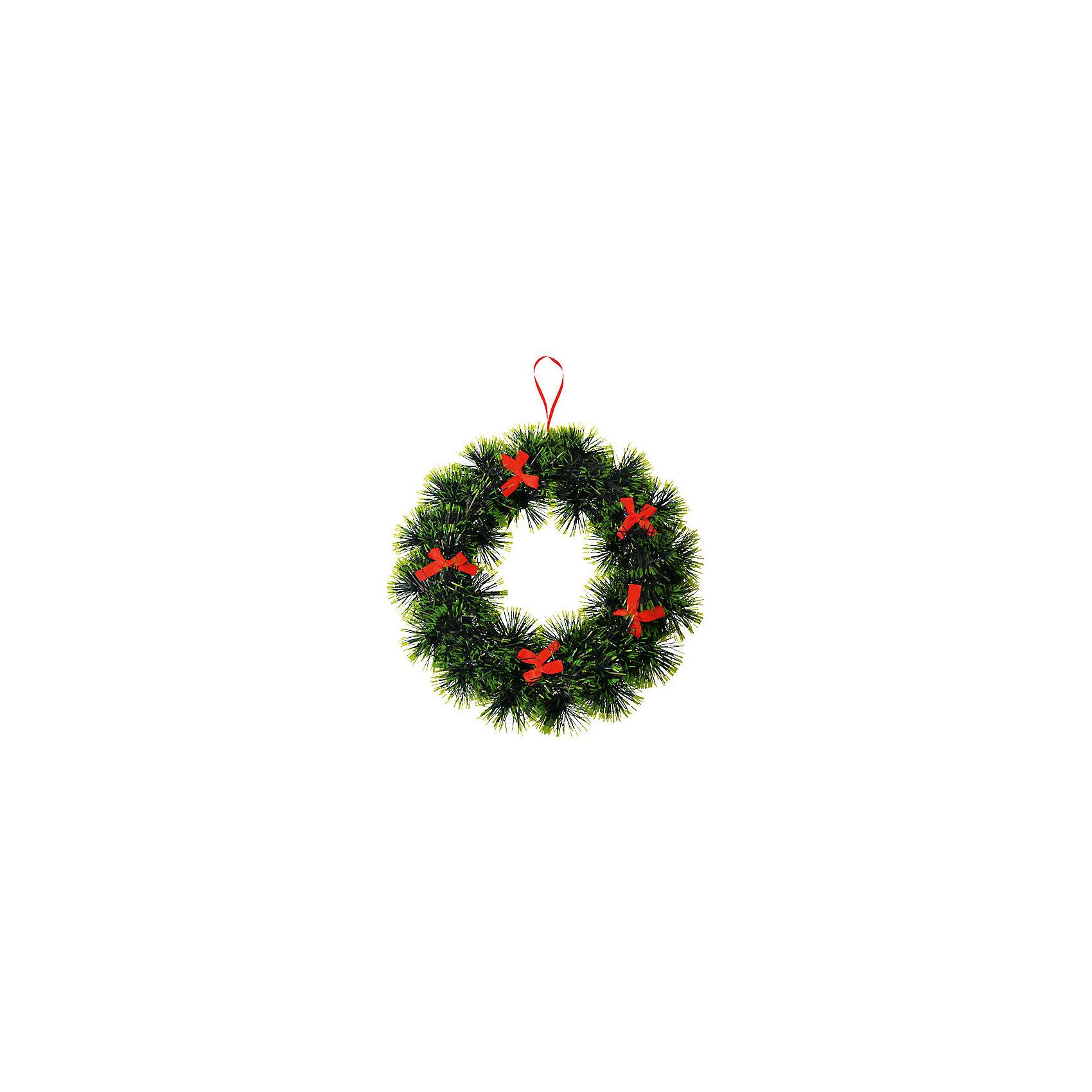 Венок новогодний, 23,5 см.Венок новогодний, 23,5 см. - этот новогодний аксессуар создаст праздничное настроение.<br>Венок новогодний станет замечательным украшением интерьера и поможет создать волшебную атмосферу праздника. Нарядный венок в виде сосновых веток украшен красными бантиками. Венок можно повесить на двери или стены комнаты, он будет прекрасно смотреться, и радовать детей и взрослых.<br><br>Дополнительная информация:<br><br>- Диаметр: 23,5 см.<br>- Вес: 153 гр.<br><br>Венок новогодний, 23,5 см можно купить в нашем интернет-магазине.<br><br>Ширина мм: 30<br>Глубина мм: 235<br>Высота мм: 235<br>Вес г: 153<br>Возраст от месяцев: 36<br>Возраст до месяцев: 1188<br>Пол: Унисекс<br>Возраст: Детский<br>SKU: 4262252