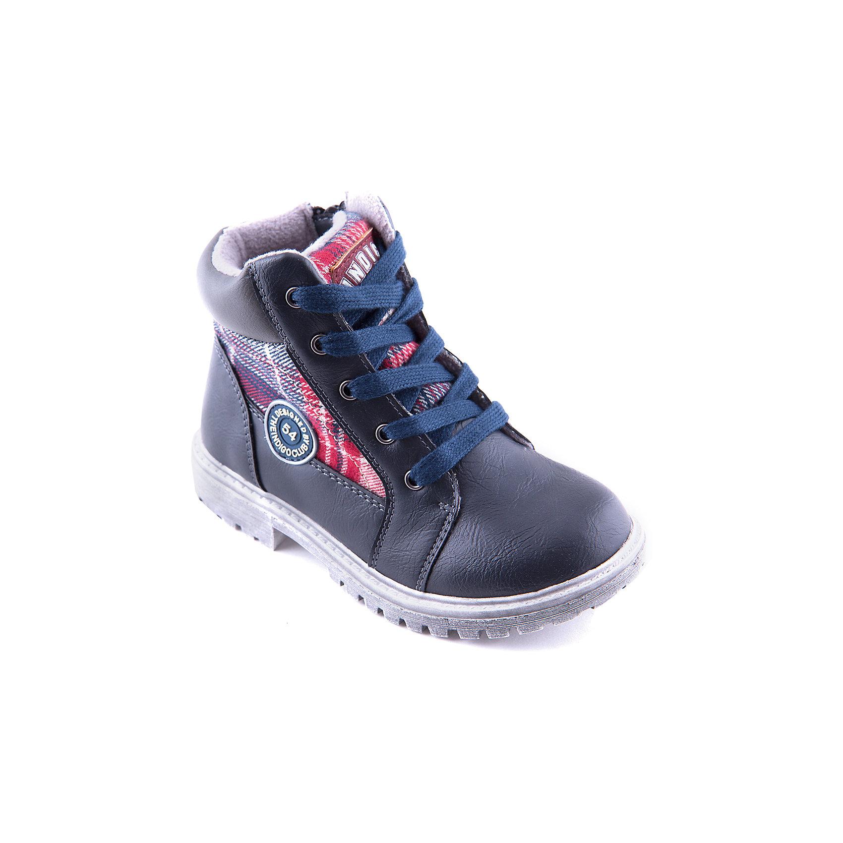 Ботинки для мальчика Indigo kidsОбувь для детей требует особого внимания: она предназначается для самых взыскательных покупателей и самых маленьких потребителей – родителей и детей. Дизайнеры и технологи, занимающиеся разработкой обуви для детей, учитывают особенности развивающейся детской стопы, поэтому, приобретая «Индиго Кидс»,  Вы можете быть уверены – она действительно создана специально для детей. Каждая модель обладает профилактической стелькой из натуральной кожи, способствующей правильному формированию стопы ребенка. <br><br>Состав:<br>Материал верха: Кожа искусственная<br>Материал подклада: Байка<br>Стелька: Байка<br>Подошва: ТЭП<br><br>Ширина мм: 262<br>Глубина мм: 176<br>Высота мм: 97<br>Вес г: 427<br>Цвет: серый<br>Возраст от месяцев: 84<br>Возраст до месяцев: 96<br>Пол: Мужской<br>Возраст: Детский<br>Размер: 31,33,32,29,28,30<br>SKU: 4262301