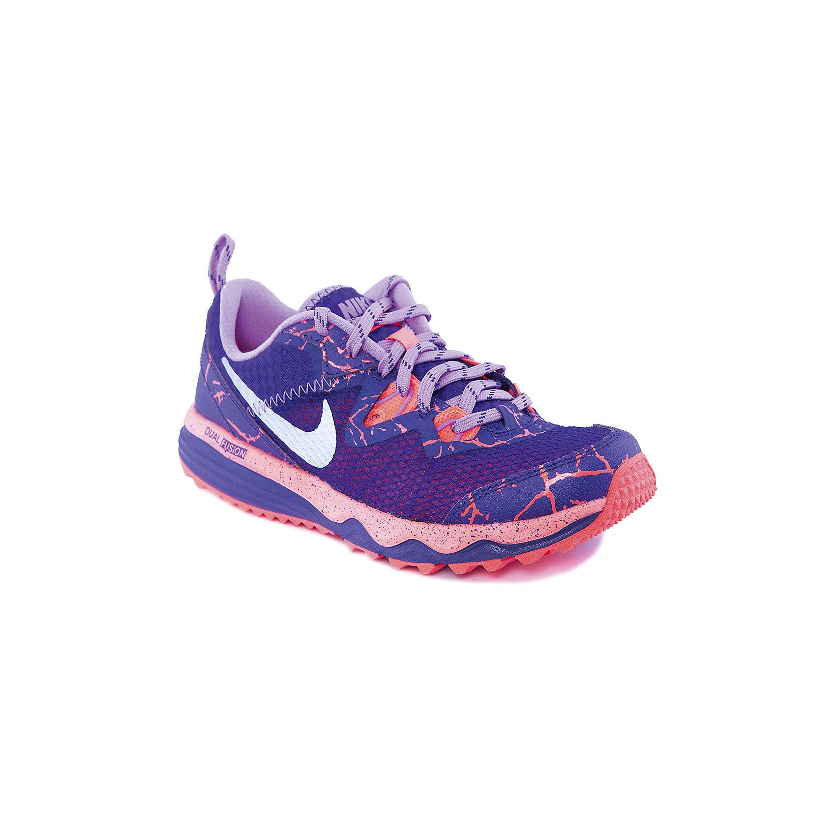 Кроссовки для девочки NIKE DUAL FUSION TRAIL LAVA GS NIKEКроссовки для девочки от популярной марки Nike<br><br>Обувь от бренда Nike известна во всем мире благодаря высочайшему качеству изделий, использованием новейших технологий и стильному дизайну.<br>Кроссовки для девочки NIKE DUAL FUSION TRAIL LAVA  –  это обувь для труднопроходимых маршрутов. Рифленая подошва обеспечивает отличное сцепление с поверхностью. Технология DUAL FUSION помогают стопе находится в комфортном положении. Легкие материалы верха не препятствует вентиляции ног. Легкие и удобные кроссовки. <br><br>Особенности данной модели:<br>- фиолетово-оранжевая цветовая гамма;<br>- шнуровка;<br>- наличие светоотражающих элементов;<br>- устойчивая подошва.<br><br>Сезон: демисезонная<br><br>Температурный режим: <br><br>Состав: от 0° С до +25° С<br><br>верх - кожа 47%, текстиль 40%, синтетическая кожа 13%;<br>подкладка – 100% текстиль;<br>подошва - резина 80%, пластик 20%.<br><br>Кроссовки для девочки Nike (Найк), можно купить в нашем магазине.<br><br>Ширина мм: 250<br>Глубина мм: 150<br>Высота мм: 150<br>Вес г: 250<br>Цвет: фиолетовый<br>Возраст от месяцев: 156<br>Возраст до месяцев: 180<br>Пол: Женский<br>Возраст: Детский<br>Размер: 37.5,34,34.5,35.5,36.5,37,38,39,35<br>SKU: 4262509
