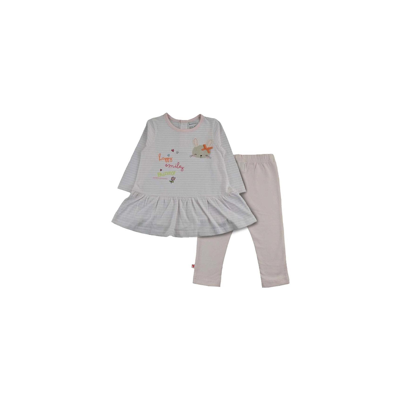 Комплект: платье и леггинсы для девочки BABALUNOКомплект: платье и леггинсы для девочки от популярной английской марки BABALUNO<br><br>Симпатичный и очень удобный комплект состоит из платья и леггинсов. Модель отлично сидит на малышах, не стесняет движения. Материал - гипоаллергенный, дышащий и приятный на ощупь.<br><br>Особенности модели:<br><br>- материал - хлопковый трикотаж;<br>- цвет: розовый;<br>- платье в полоску украшено принтом с аппликацией;<br>- внизу - волан;<br>- рукав длинный, горловой вырез - круглый;<br>- застежка - сзади;<br>- леггинсы - из плотного эластичного трикотажа;<br>- пояс - на резинке.<br><br>Дополнительная информация:<br><br>Состав: 100% хлопок<br><br>Уход за изделием:<br><br>стирка в машине при температуре до 30°С,<br>не отбеливать,<br>гладить на средней температуре.<br><br>Комплект: платье и леггинсы для девочки BABALUNO (Бабалуно) можно купить в нашем магазине<br><br>Ширина мм: 190<br>Глубина мм: 74<br>Высота мм: 229<br>Вес г: 236<br>Цвет: бежевый<br>Возраст от месяцев: 0<br>Возраст до месяцев: 3<br>Пол: Женский<br>Возраст: Детский<br>Размер: 56/62,62/68,68/74,74/80<br>SKU: 4262862