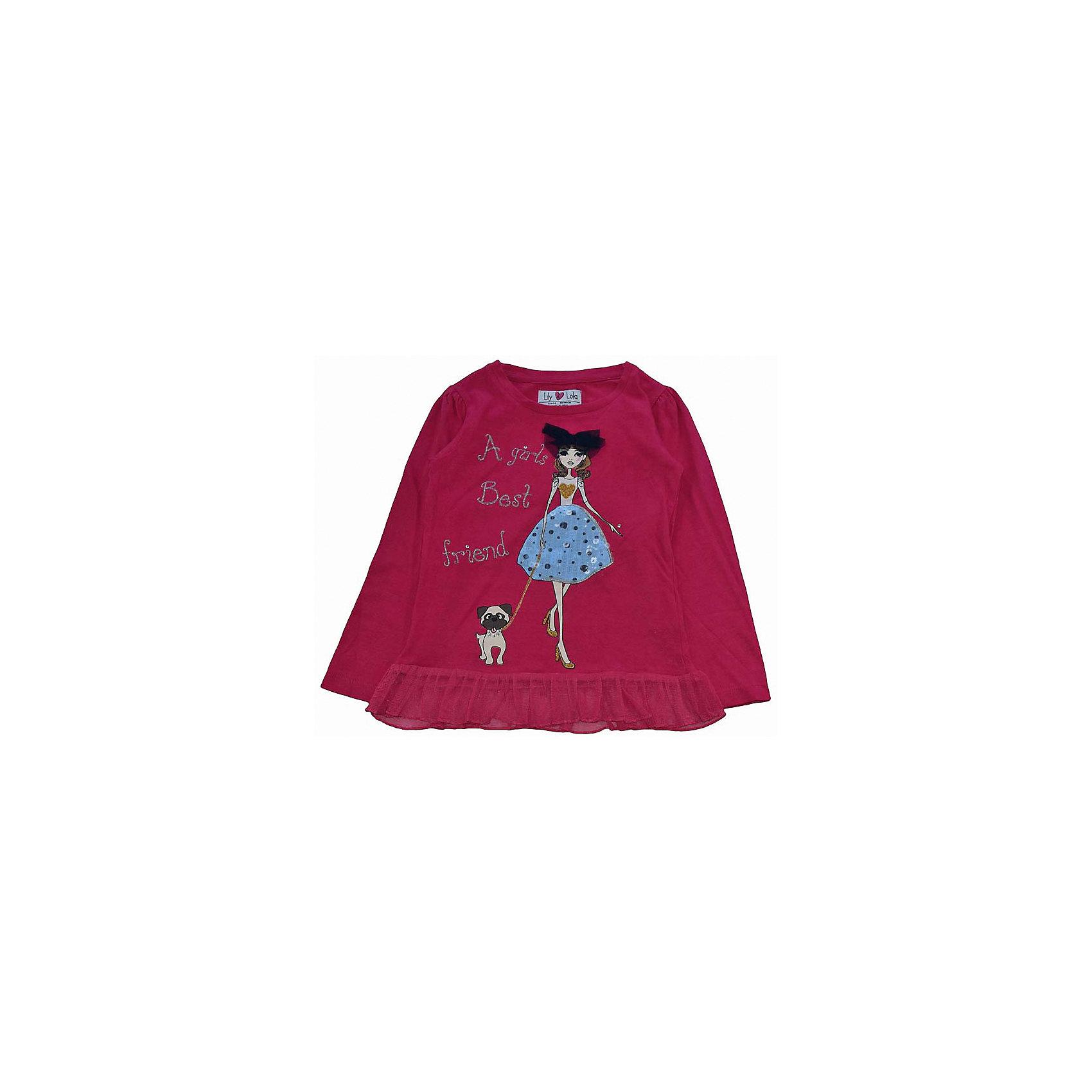 Футболка с длинным рукавом для девочки Lily LolaФутболка с длинным рукавом для девочки от популярной марки  Lily Lola<br><br>Стильная футболка отлично смотрится и с юбками, и с брюками. Она легко надевается, отлично смотрится, не стесняет движения. Материал содержит натуральный хлопок, гипоаллергенный, дышащий и приятный на ощупь.<br><br>Особенности модели:<br><br>- материал - трикотаж;<br>- цвет: красный;<br>- принт - девочка с собакой, с пайетками и стразами;<br>- рукава присборены;<br>- низ декорирован оборкой из органзы;<br>- круглый горловой вырез.<br><br>Дополнительная информация:<br><br>Состав: 100% хлопок<br><br>Уход за изделием:<br>стирка в машине при температуре до 30°С,<br>не отбеливать.<br><br>Футболку с длинным рукавом для девочки от  Lily Lola (Лили Лола) можно купить в нашем магазине<br><br>Ширина мм: 190<br>Глубина мм: 74<br>Высота мм: 229<br>Вес г: 236<br>Цвет: красный<br>Возраст от месяцев: 72<br>Возраст до месяцев: 84<br>Пол: Женский<br>Возраст: Детский<br>Размер: 122/128,104/110,98/104,110/116<br>SKU: 4263314